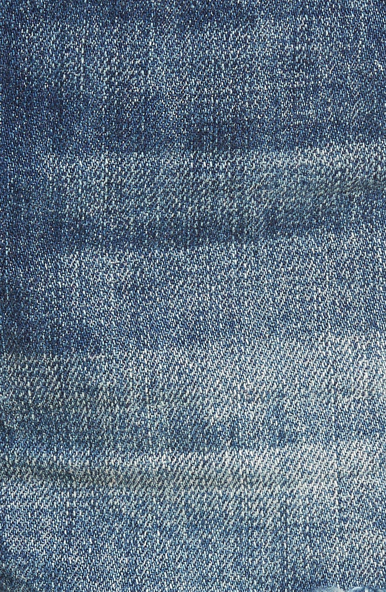 BP.,                             High Waist Frayed Hem Denim Shorts,                             Alternate thumbnail 6, color,                             420
