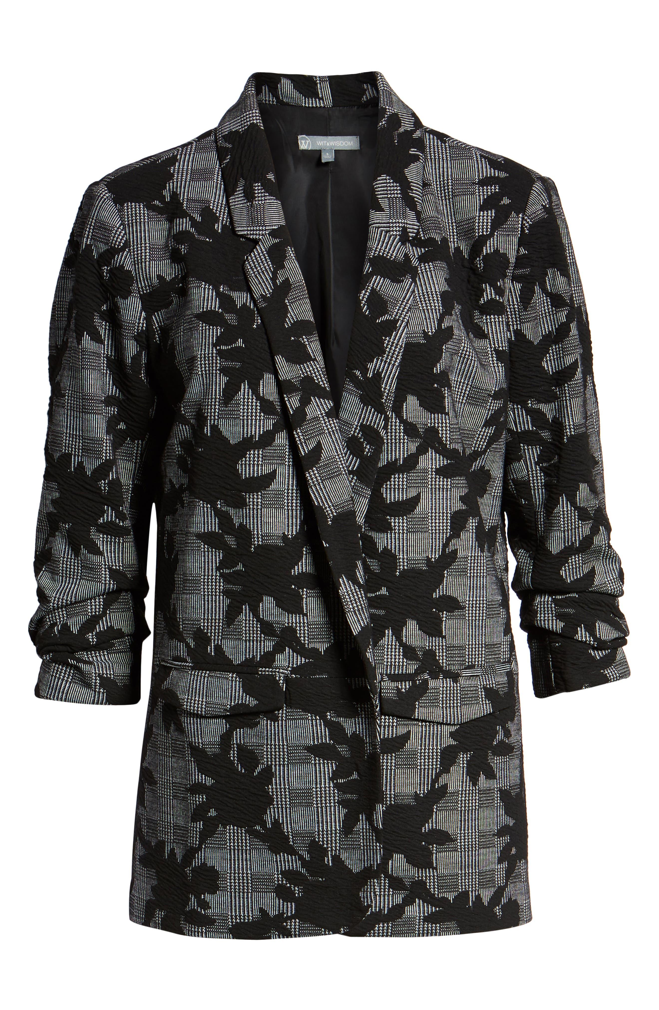 Floral Plaid Jacket,                             Alternate thumbnail 6, color,                             BLACK/ GREY