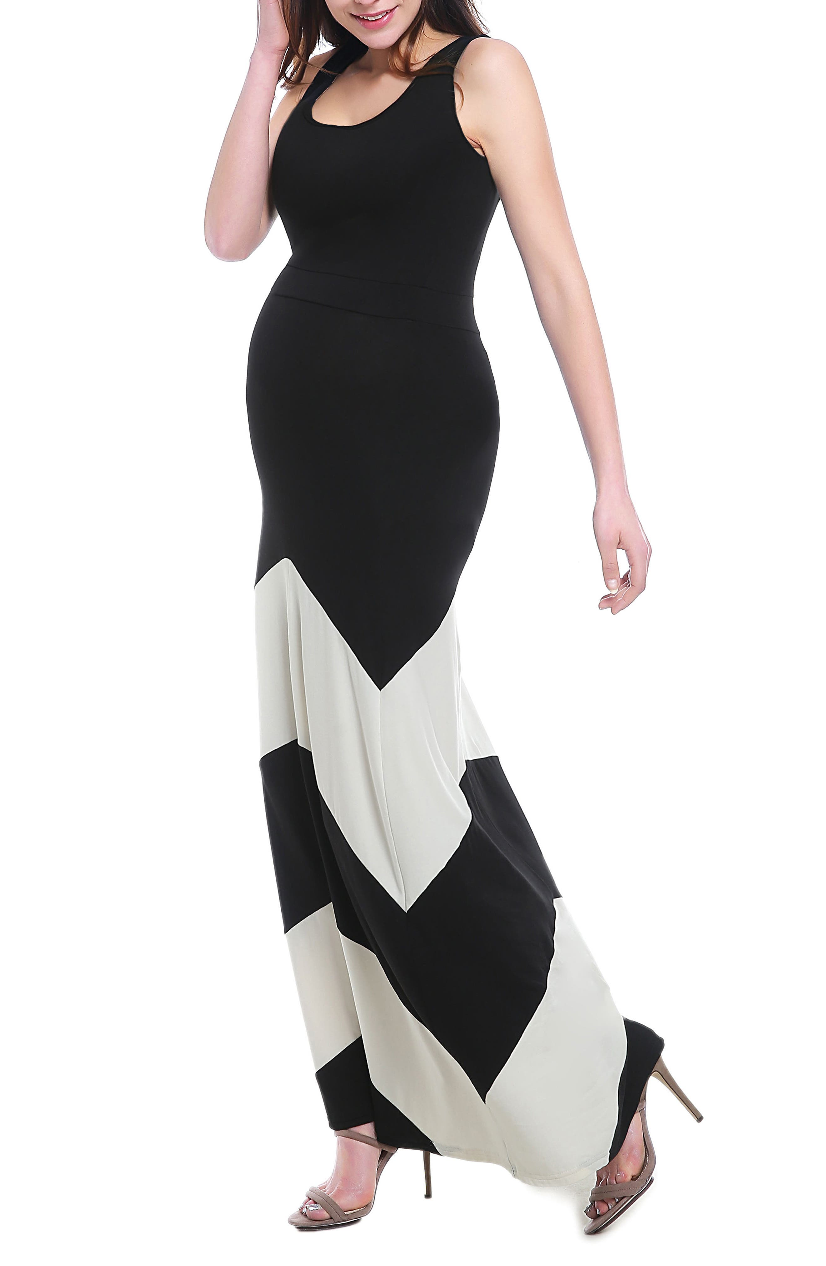 Sally Maternity Maxi Dress,                             Alternate thumbnail 4, color,                             BLACK/ WHITE