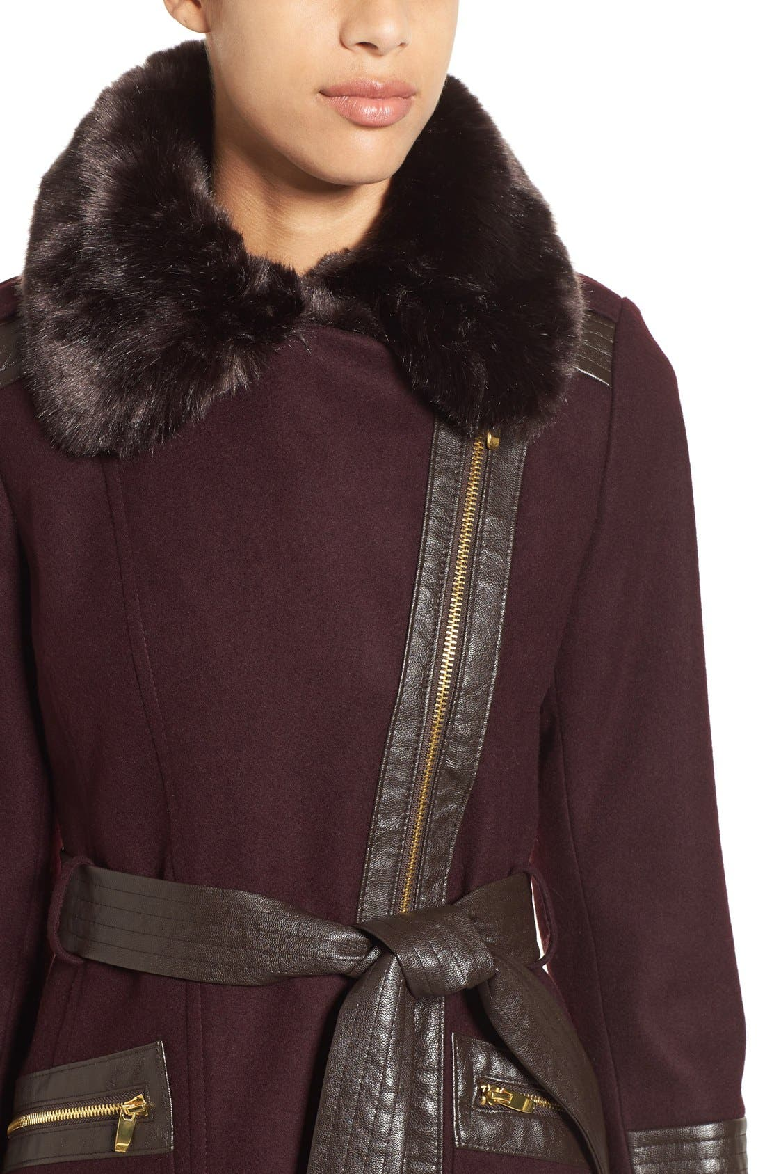 Faux Leather & Faux Fur Trim Belted Wool Blend Coat,                             Alternate thumbnail 31, color,