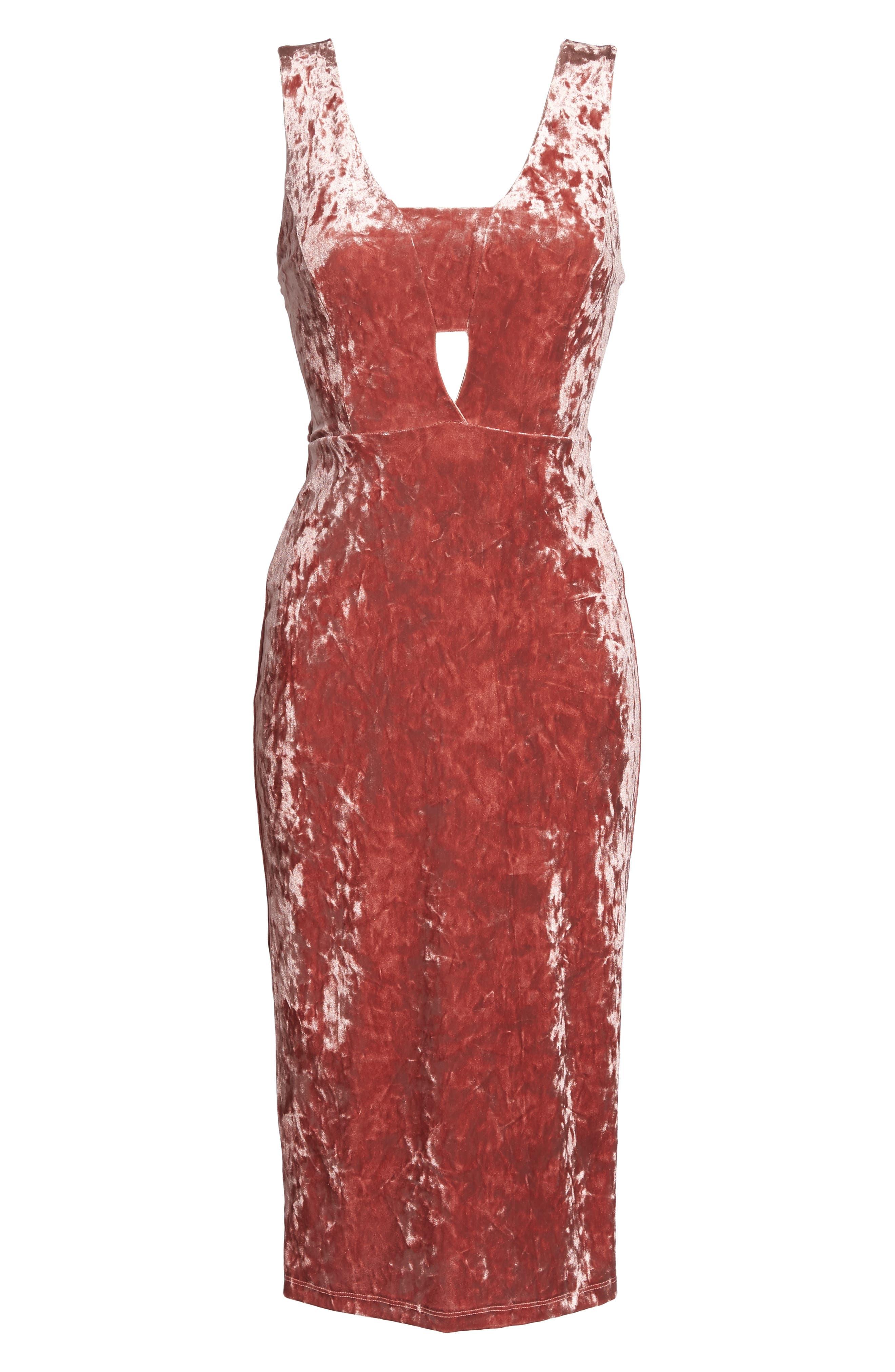 Velvet Midi Dress,                             Alternate thumbnail 6, color,                             ICE PINK