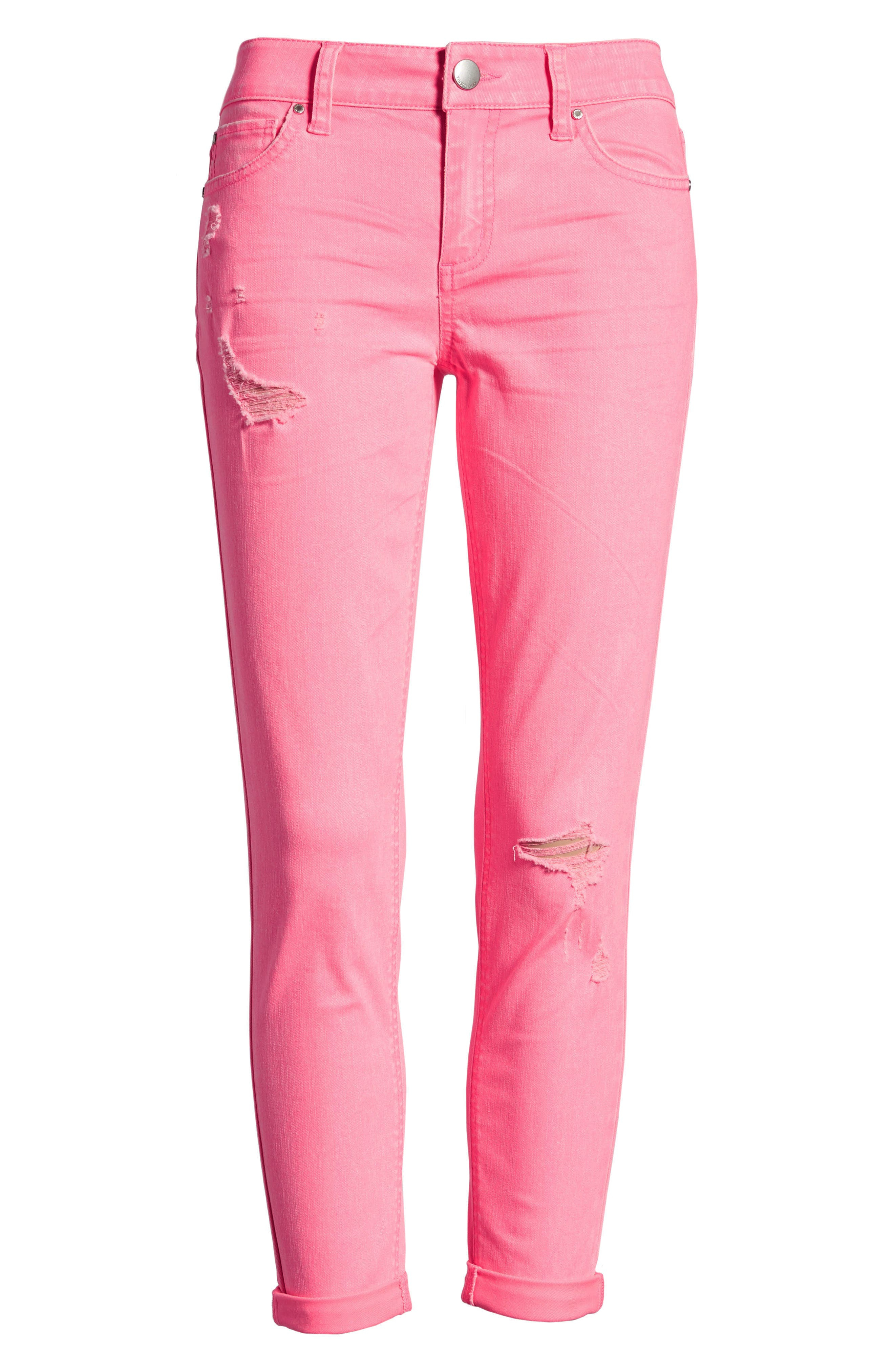 Distressed Roll Cuff Skinny Jeans,                             Alternate thumbnail 24, color,