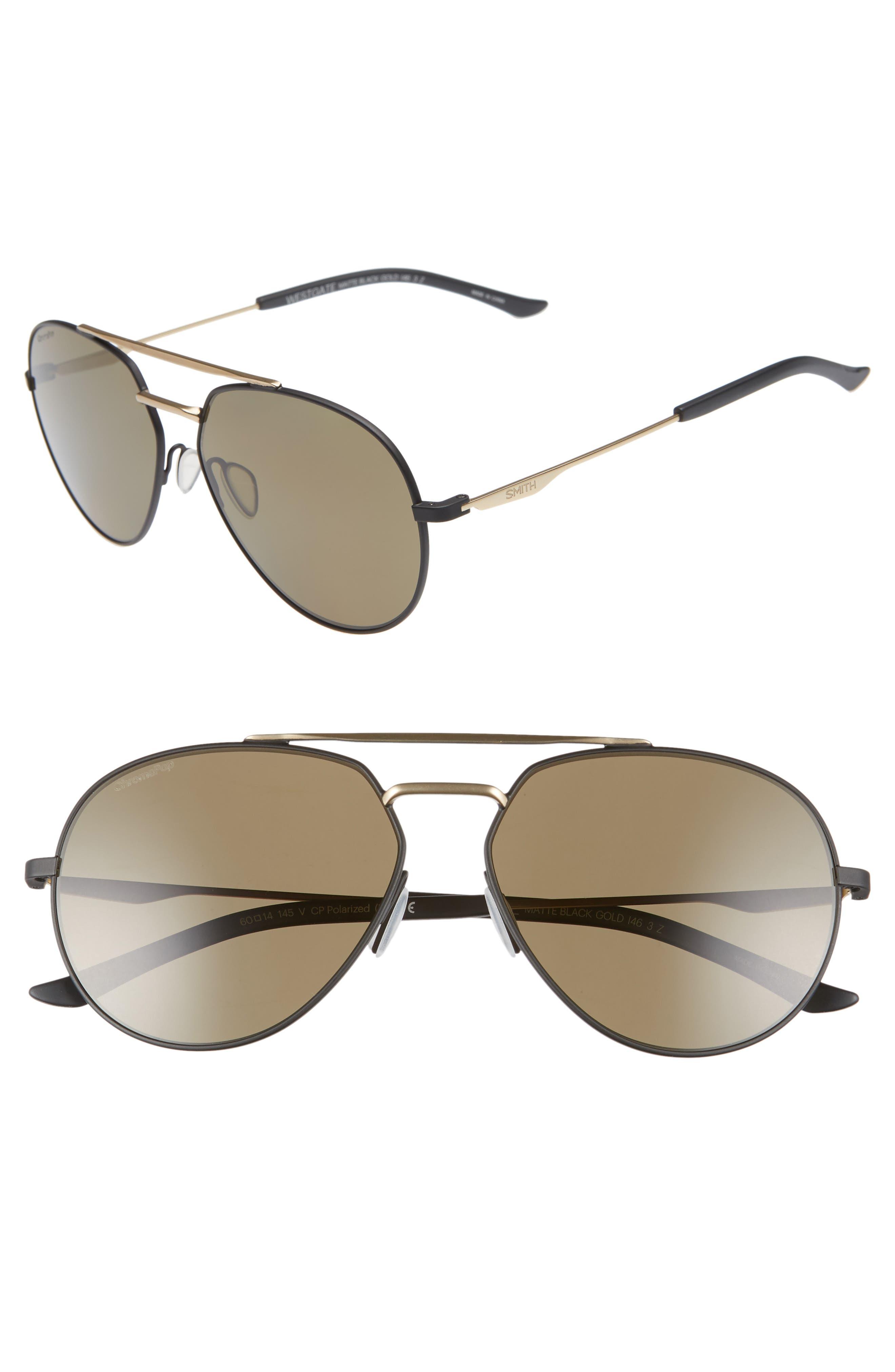 SMITH Westgate 60mm ChromaPop<sup>™</sup> Polarized Aviator Sunglasses, Main, color, MATTE BLACK/ GOLD