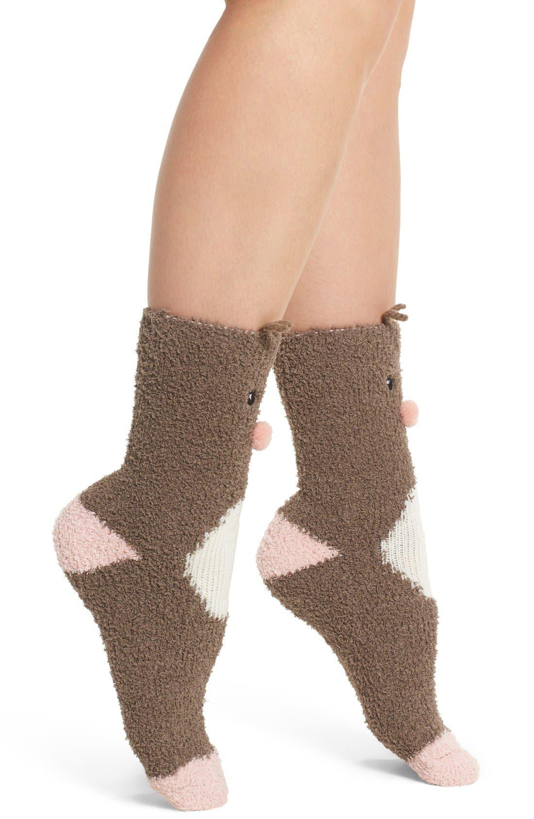Deer Plush Socks,                             Alternate thumbnail 2, color,                             200