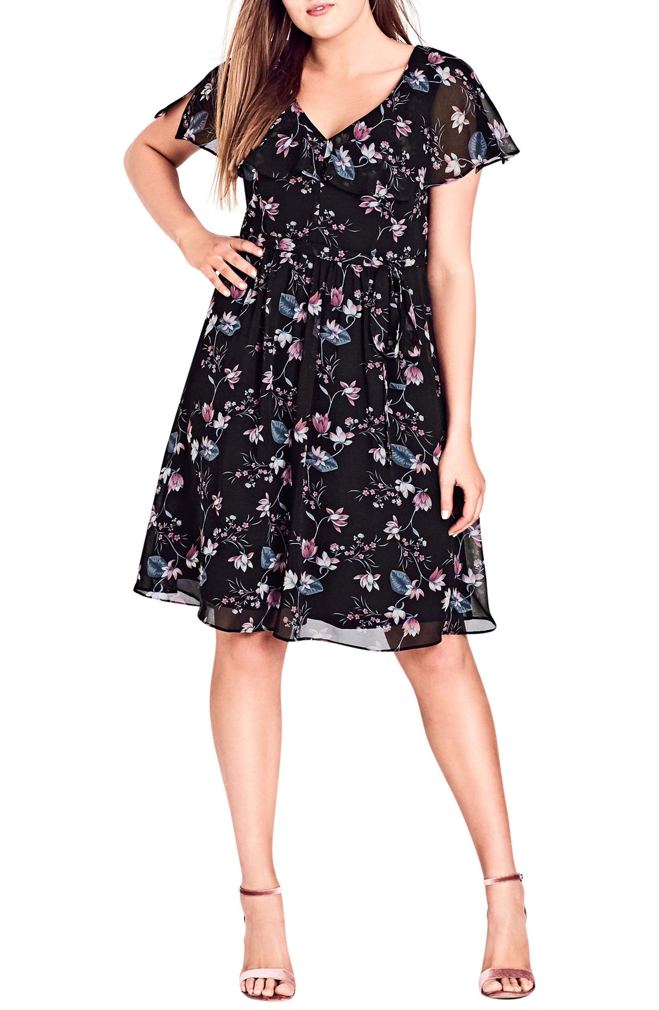 Sweet Jasmine Fit & Flare Dress,                             Main thumbnail 1, color,                             001