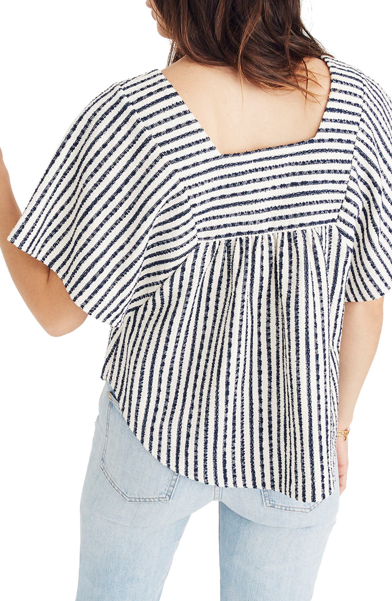 Stripe Butterfly Top,                             Alternate thumbnail 2, color,                             BRIGHT IVORY