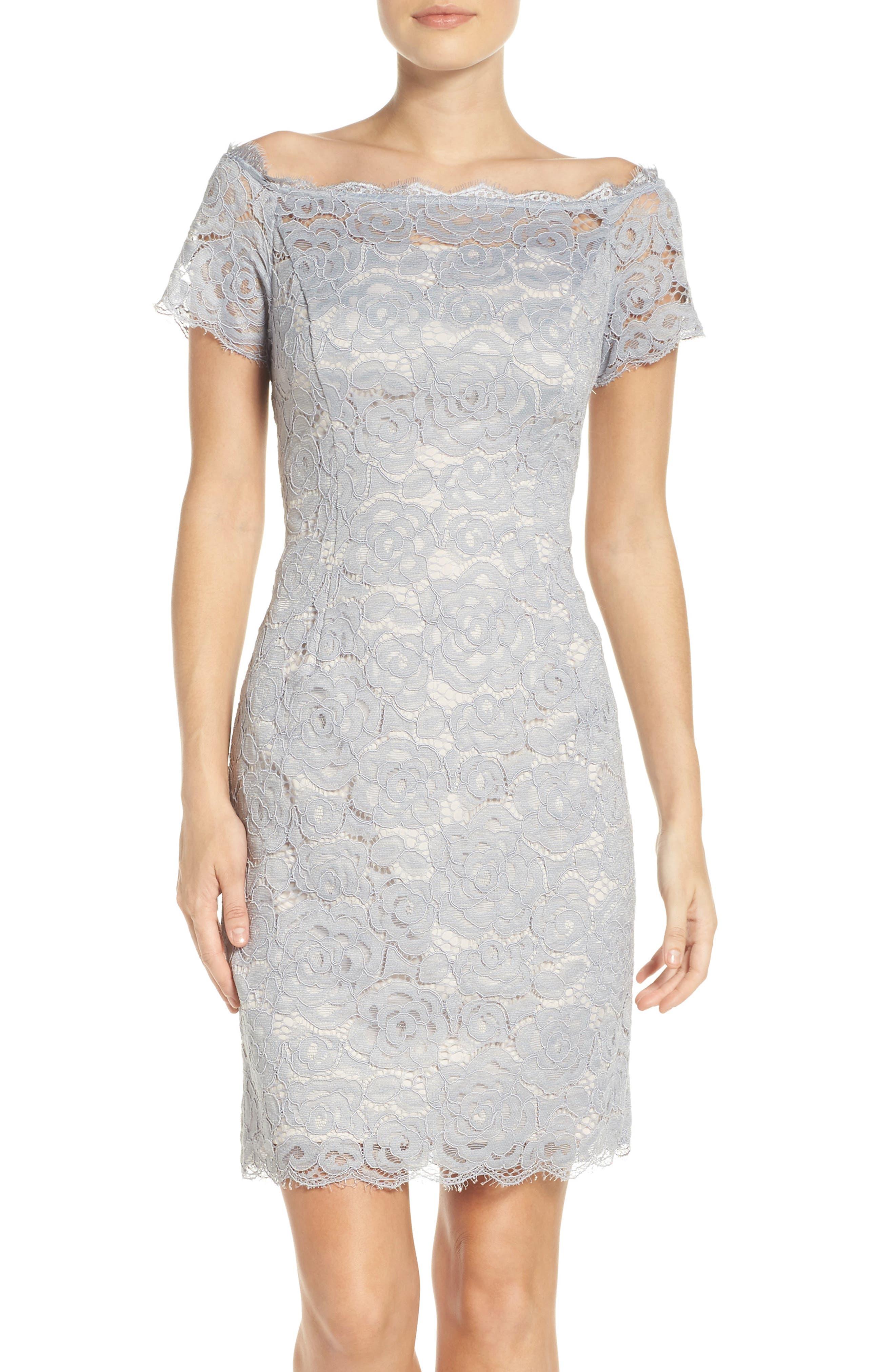Off the Shoulder Lace Sheath Dress,                             Alternate thumbnail 9, color,