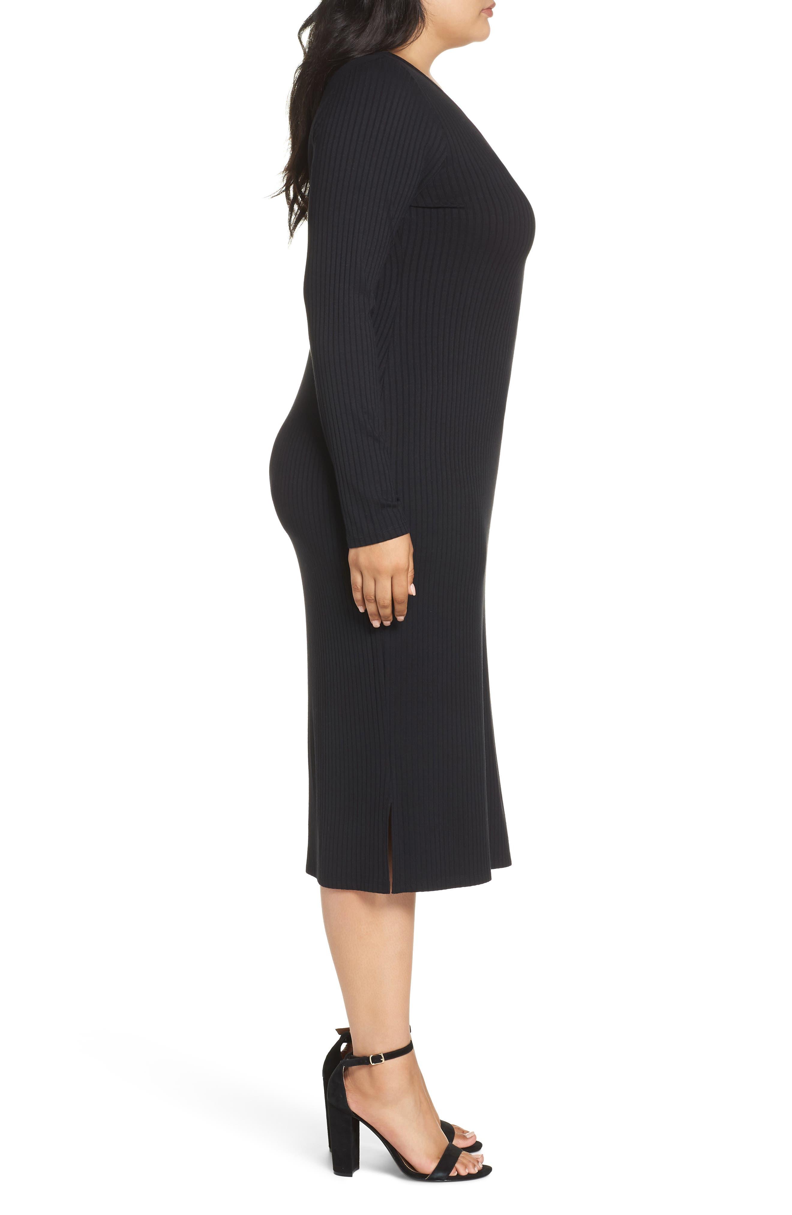 Ribbed Henley Midi Dress,                             Alternate thumbnail 10, color,                             BLACK