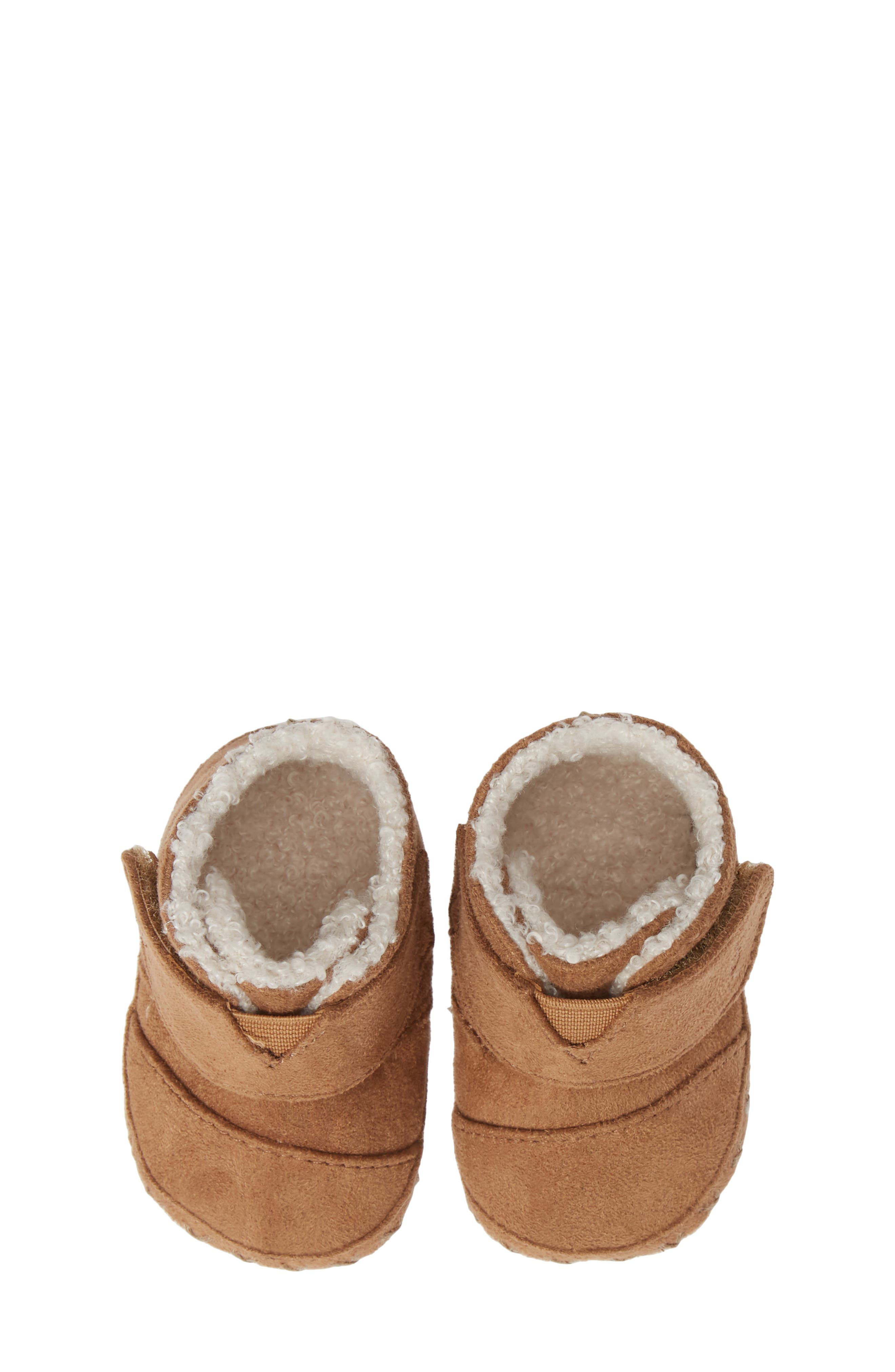 Tiny Cuna Faux Fur Crib Bootie,                             Main thumbnail 1, color,                             TOFFEE MICROFIBER