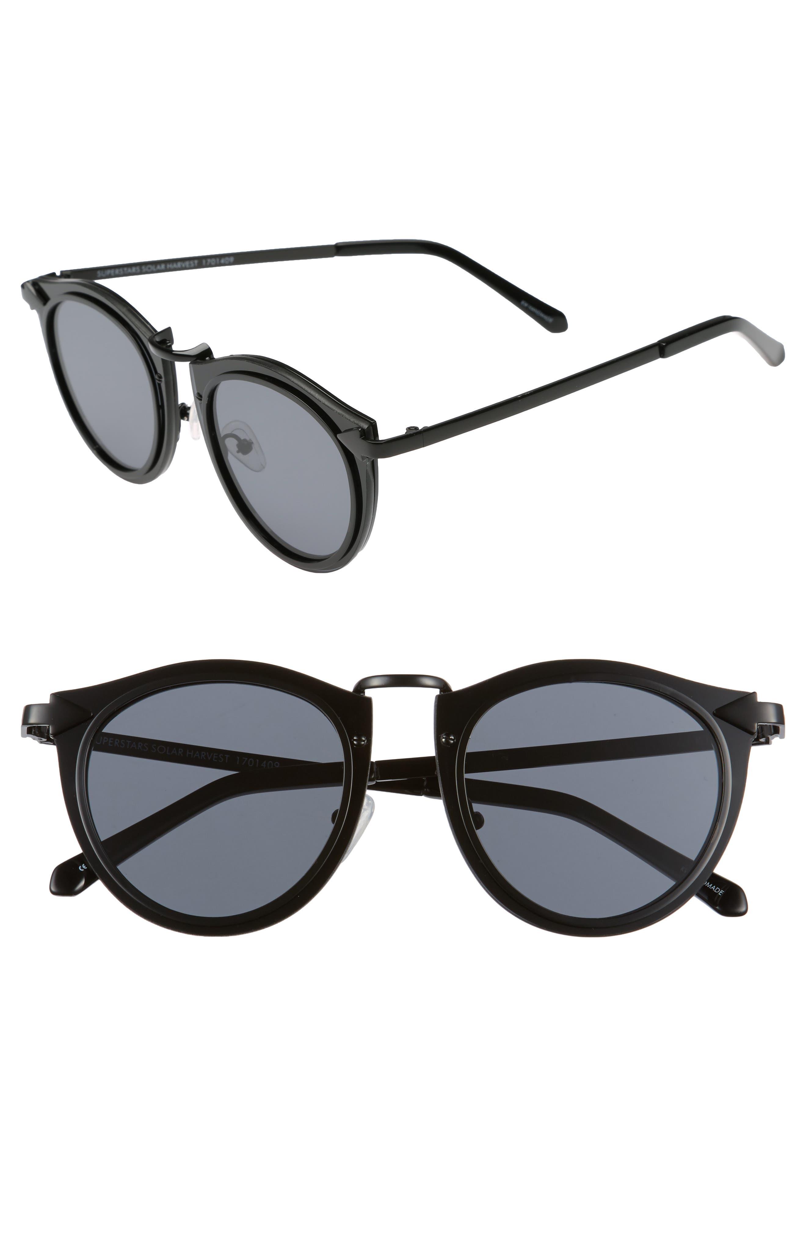 Superstars - Solar 50mm Retro Sunglasses,                             Main thumbnail 1, color,                             001