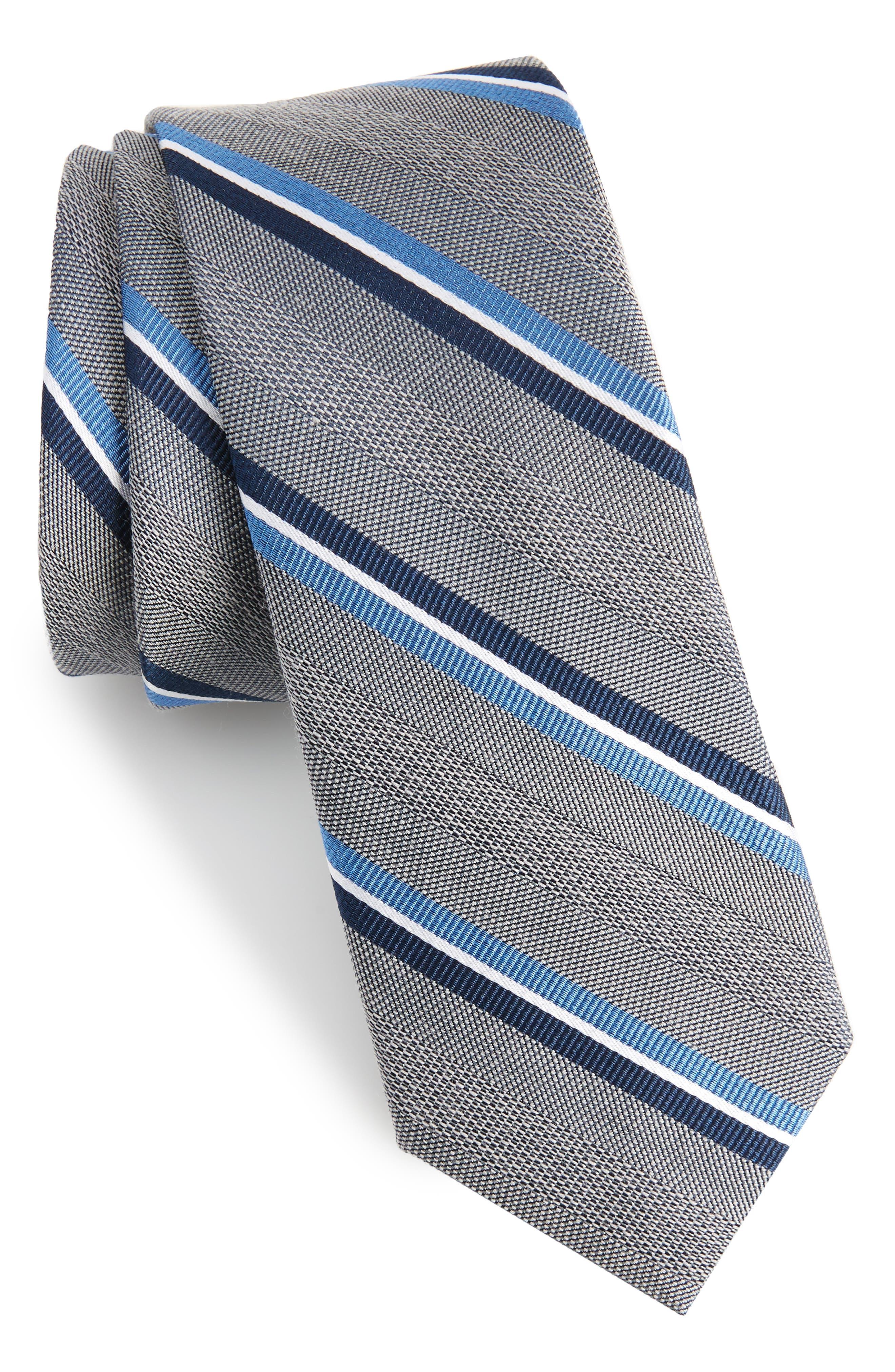 Short Cut Stripe Silk & Wool Skinny Tie,                         Main,                         color, 030