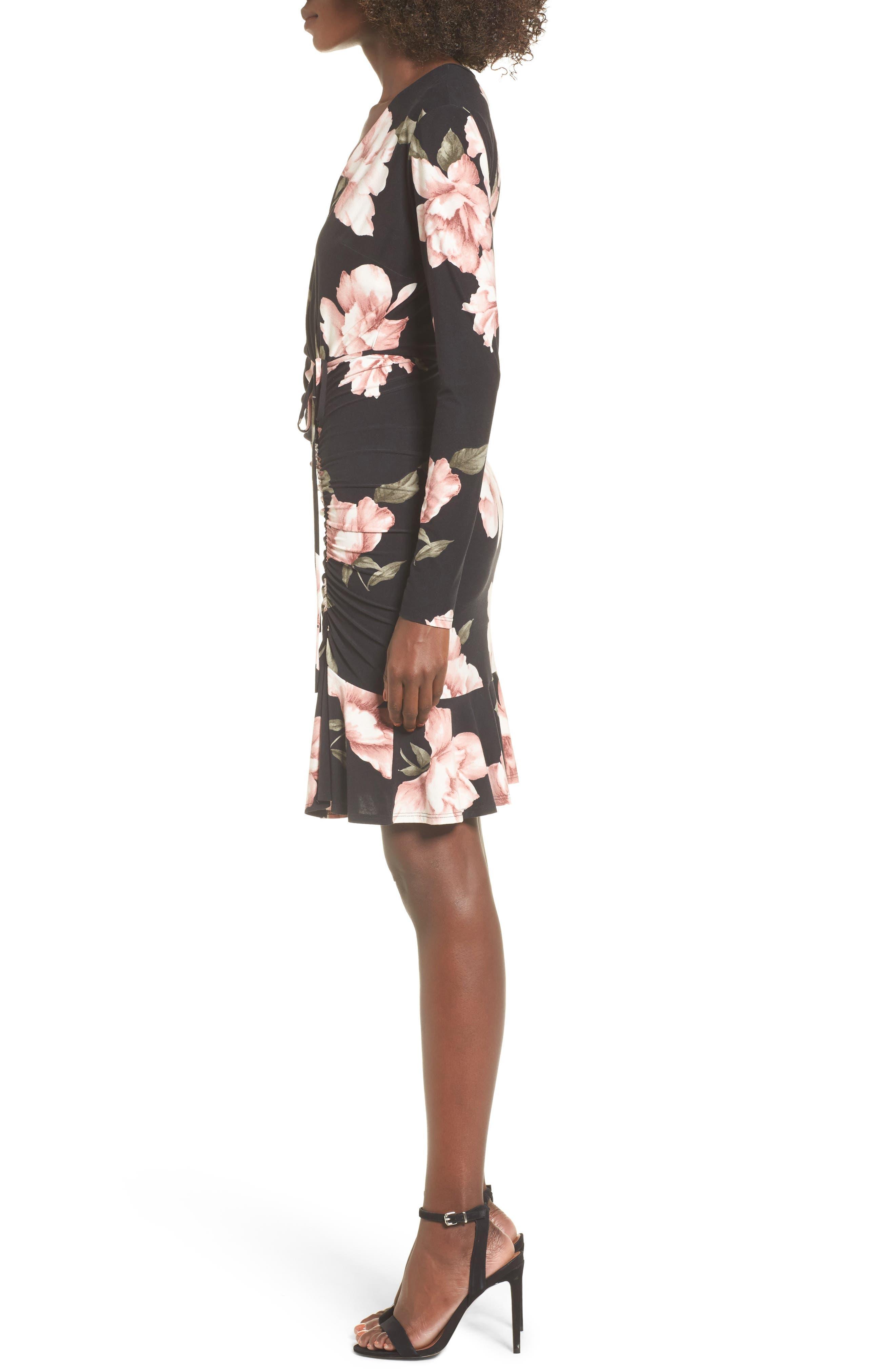 Ruched Surplice Dress,                             Alternate thumbnail 3, color,                             004