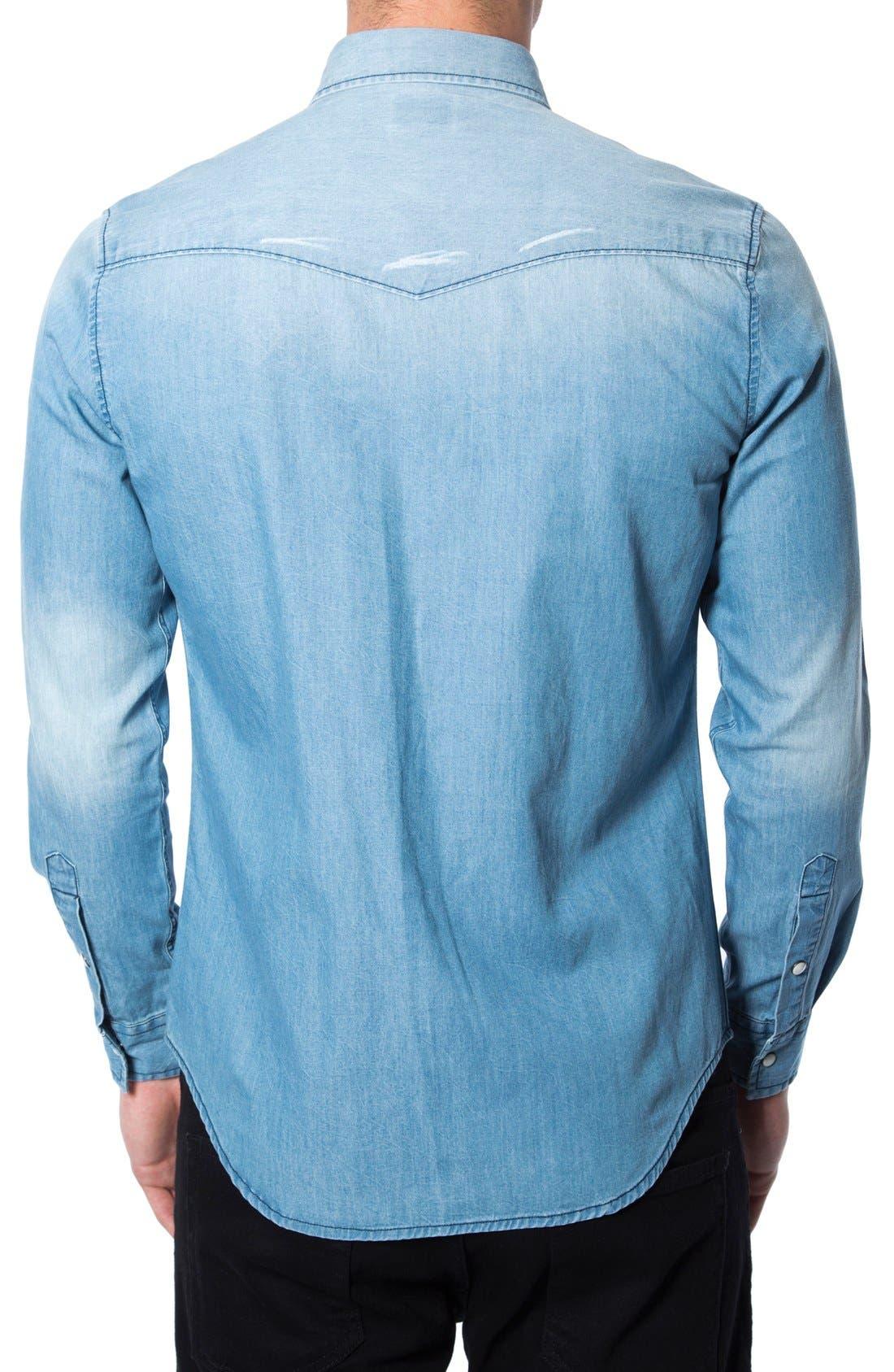 'Beyond Me' Trim Fit Chambray Shirt,                             Alternate thumbnail 2, color,                             400