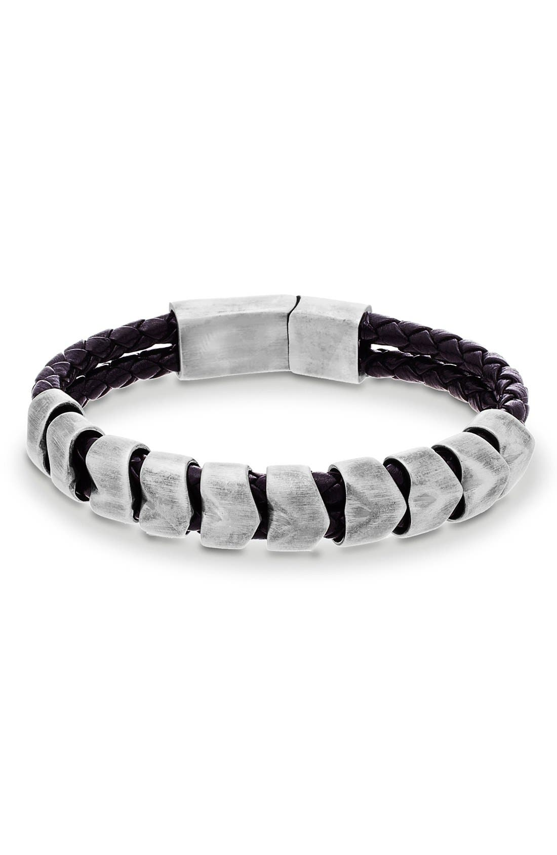 'Braided Scale' Leather & Metal Bracelet,                             Main thumbnail 1, color,                             040