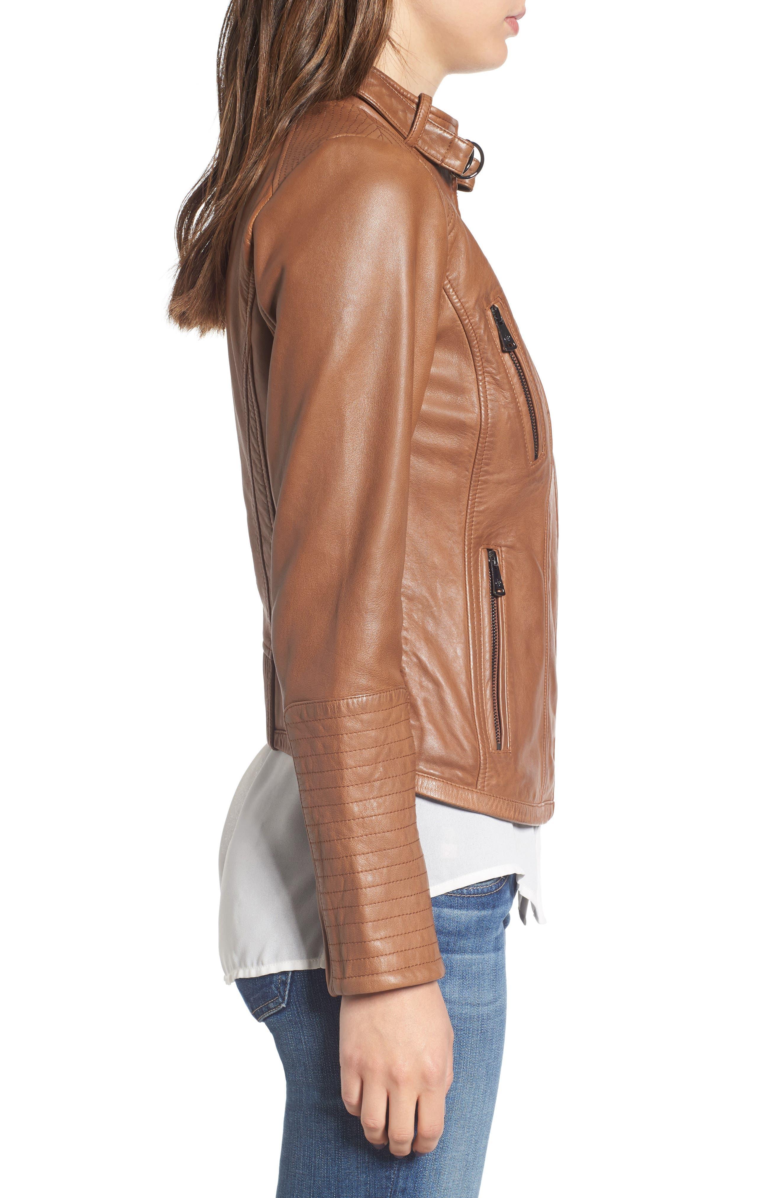 Zip Front Leather Biker Jacket,                             Alternate thumbnail 10, color,
