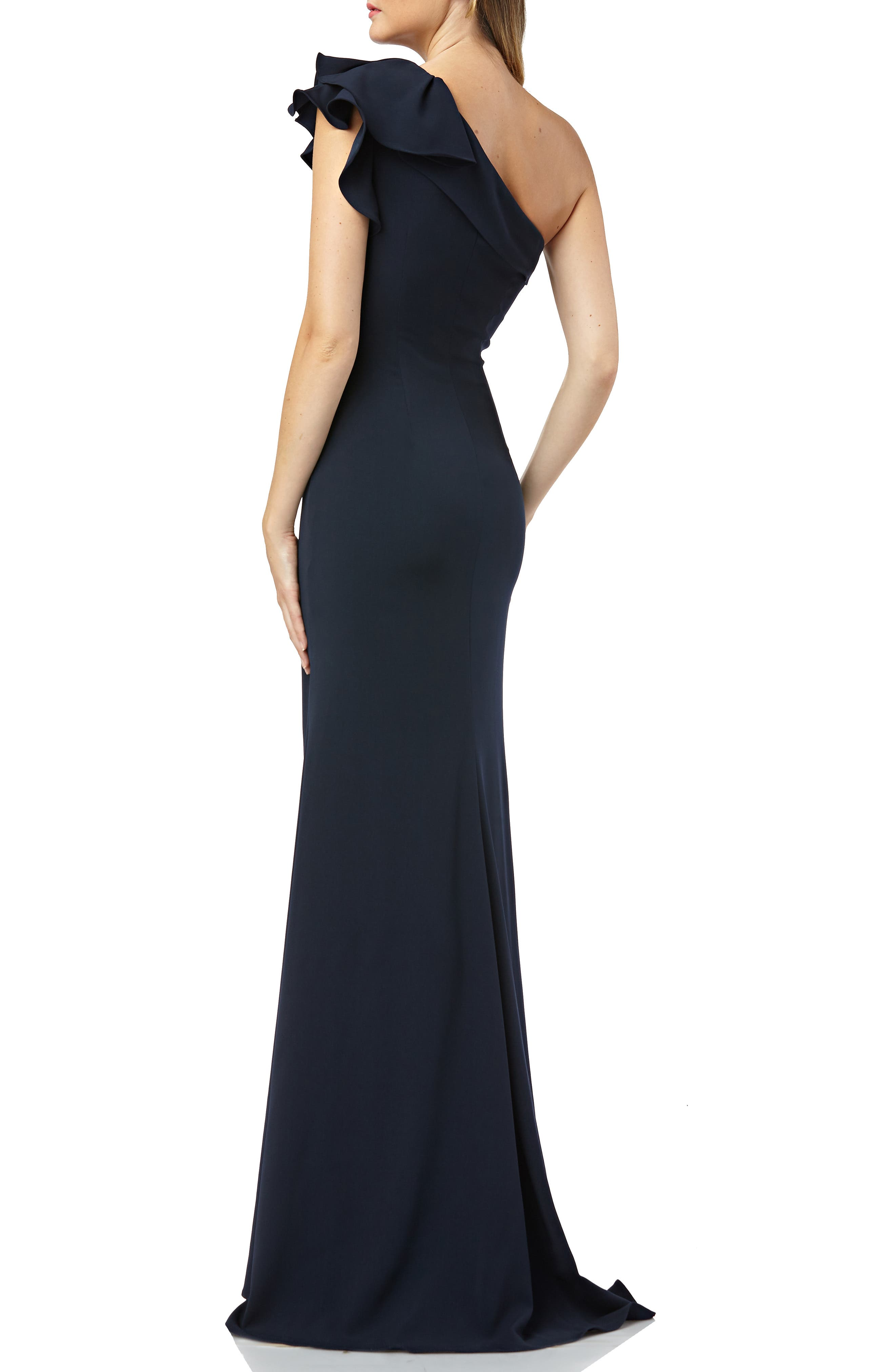 One-Shoulder Gown,                             Alternate thumbnail 2, color,                             MIDNIGHT