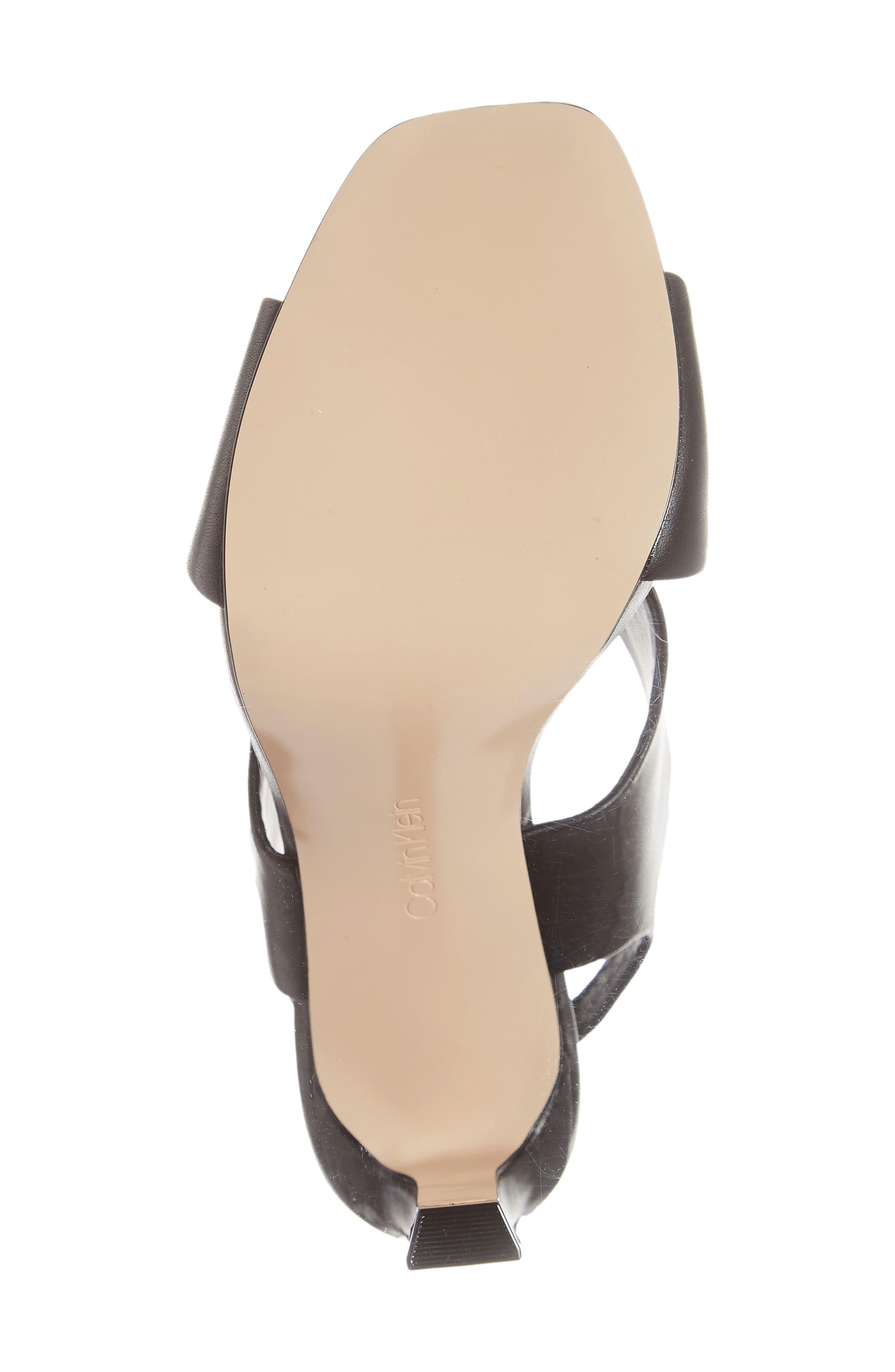 Myra Cross Strap Sandal,                             Alternate thumbnail 6, color,                             BLACK LEATHER