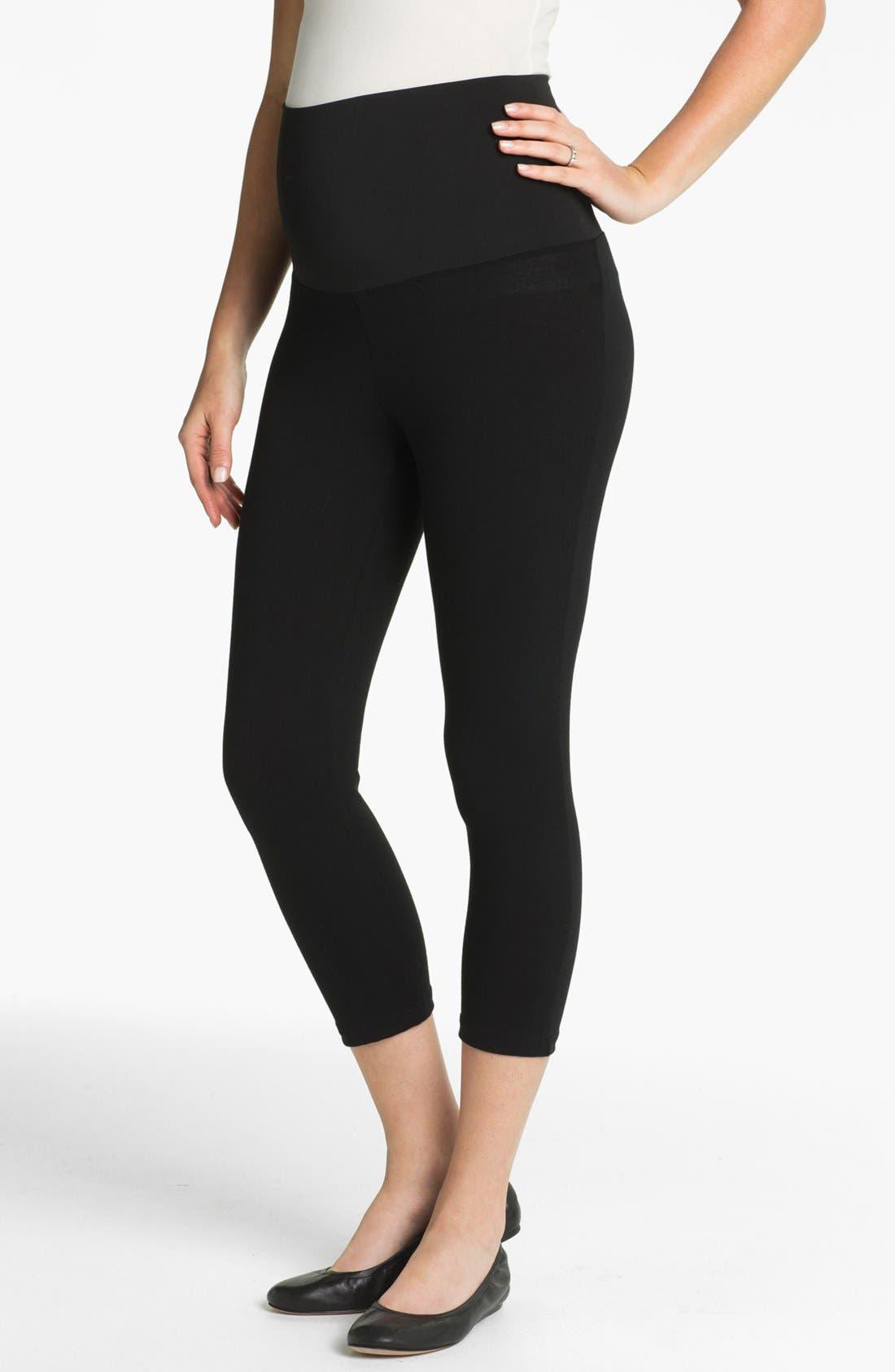 MATERNAL AMERICA Post Support Crop Maternity Leggings, Main, color, BLACK