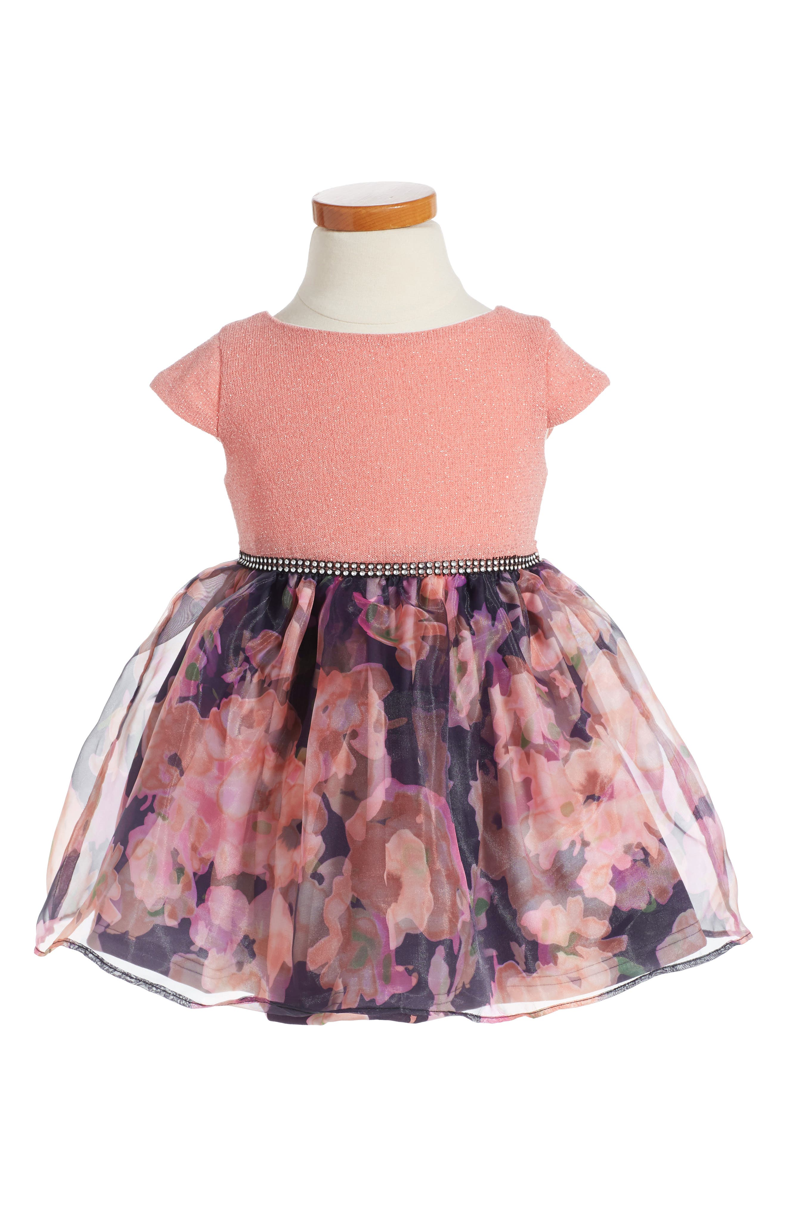 Floral Fit & Flare Dress,                             Alternate thumbnail 3, color,                             952