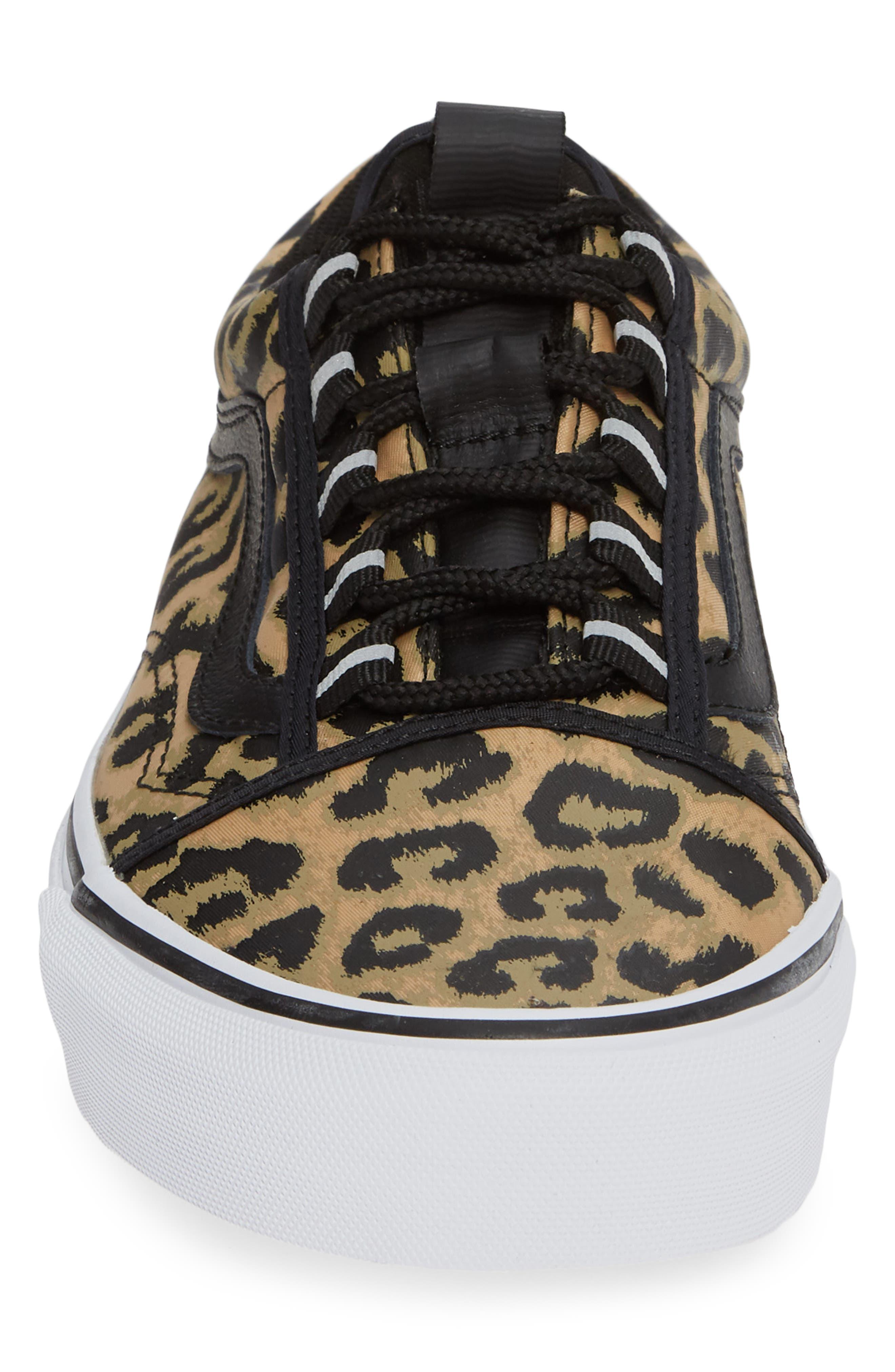 Old Skool Ghillie Sneaker,                             Alternate thumbnail 4, color,                             BLACK NYLON/ LEOPARD NYLON