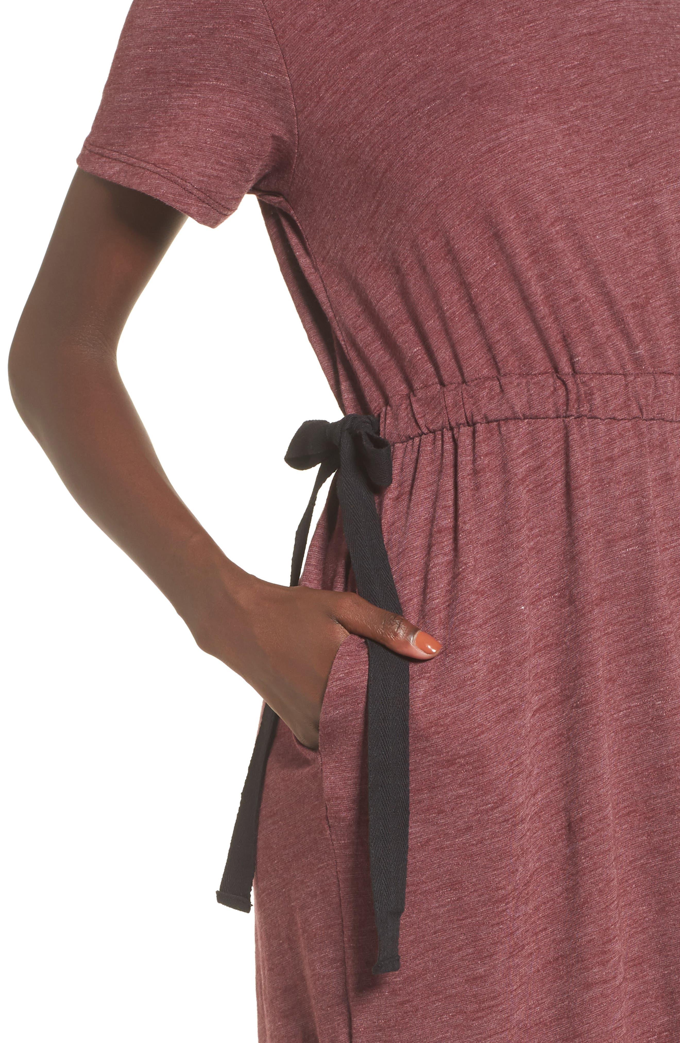 Side Tie Midi T-Shirt Dress,                             Alternate thumbnail 12, color,