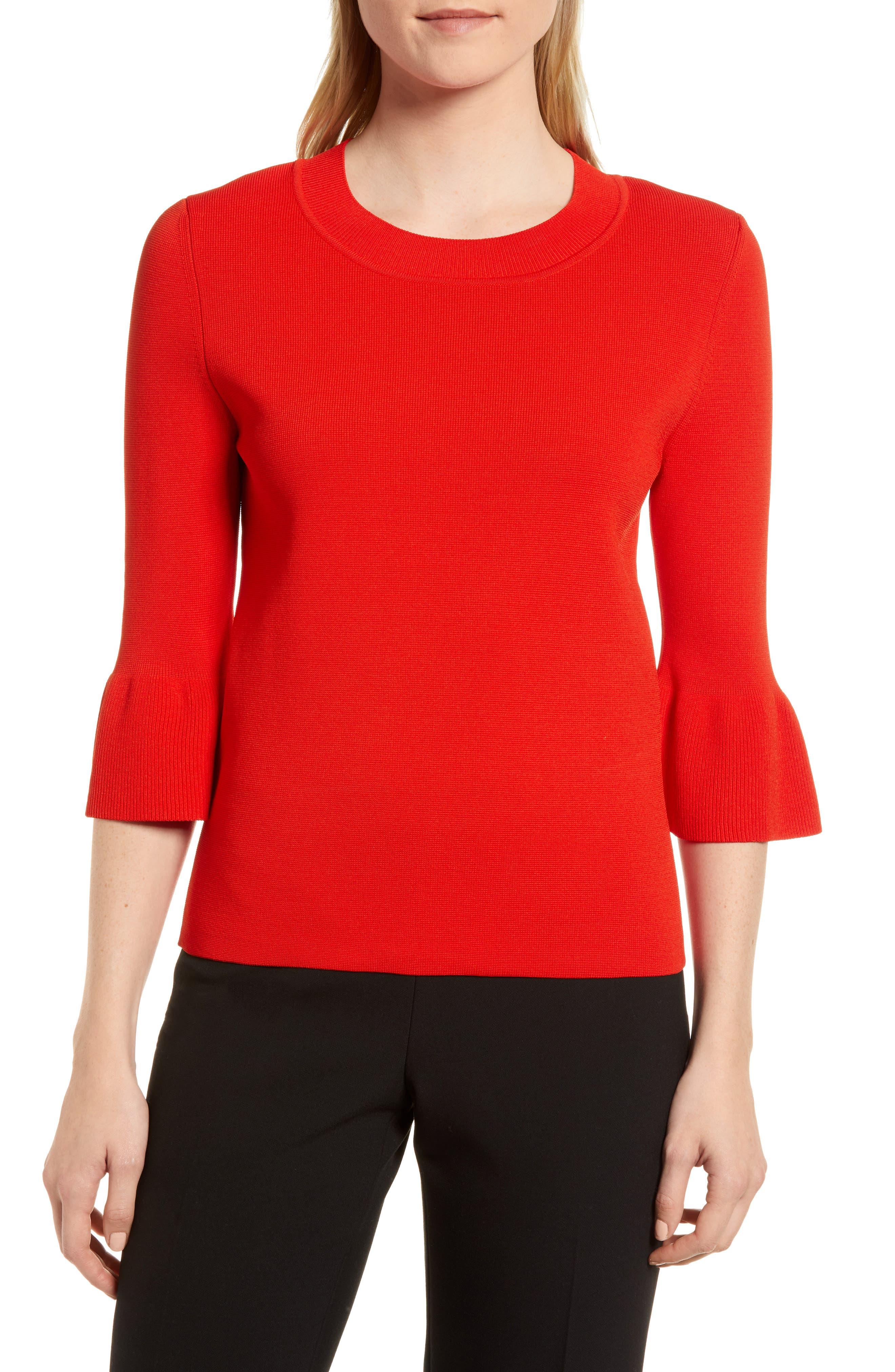 Fenella Ruffle Sleeve Sweater,                             Main thumbnail 1, color,                             600