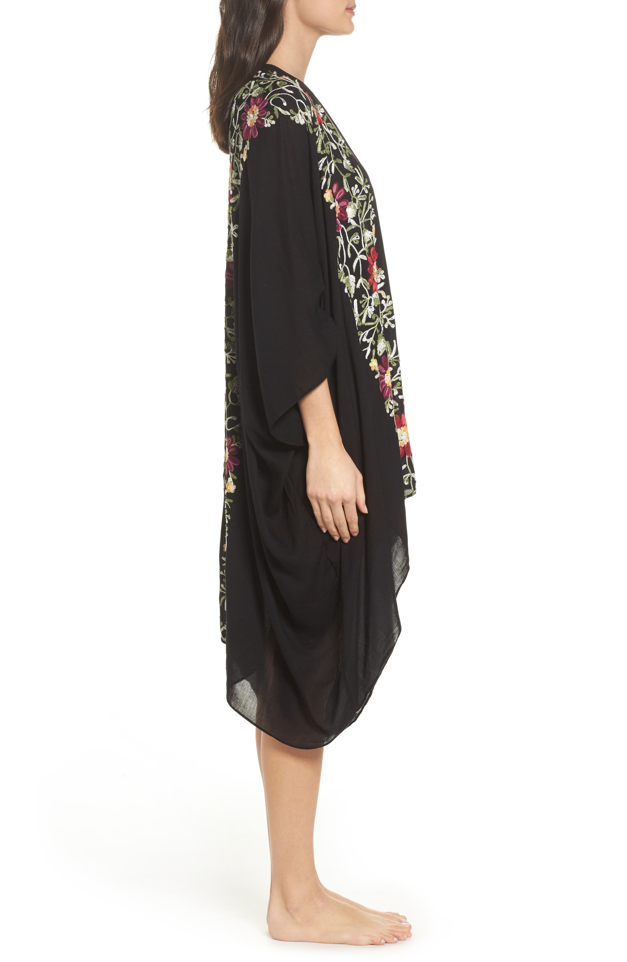 Embroidered Cover-Up Kimono,                             Alternate thumbnail 3, color,                             BLACK