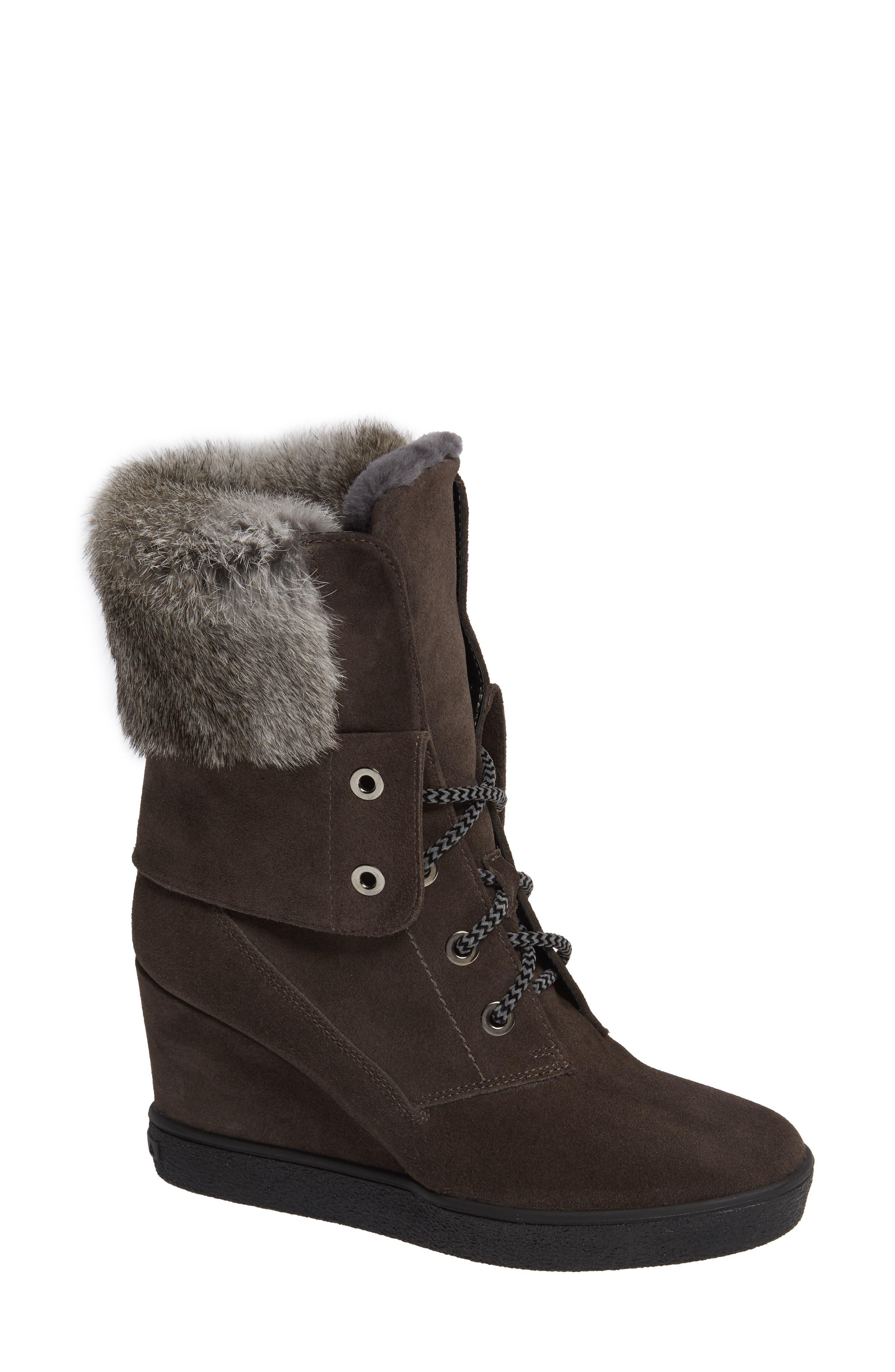 Aquatalia Cordelia Water Resistant Genuine Rabbit Fur Boot, Grey