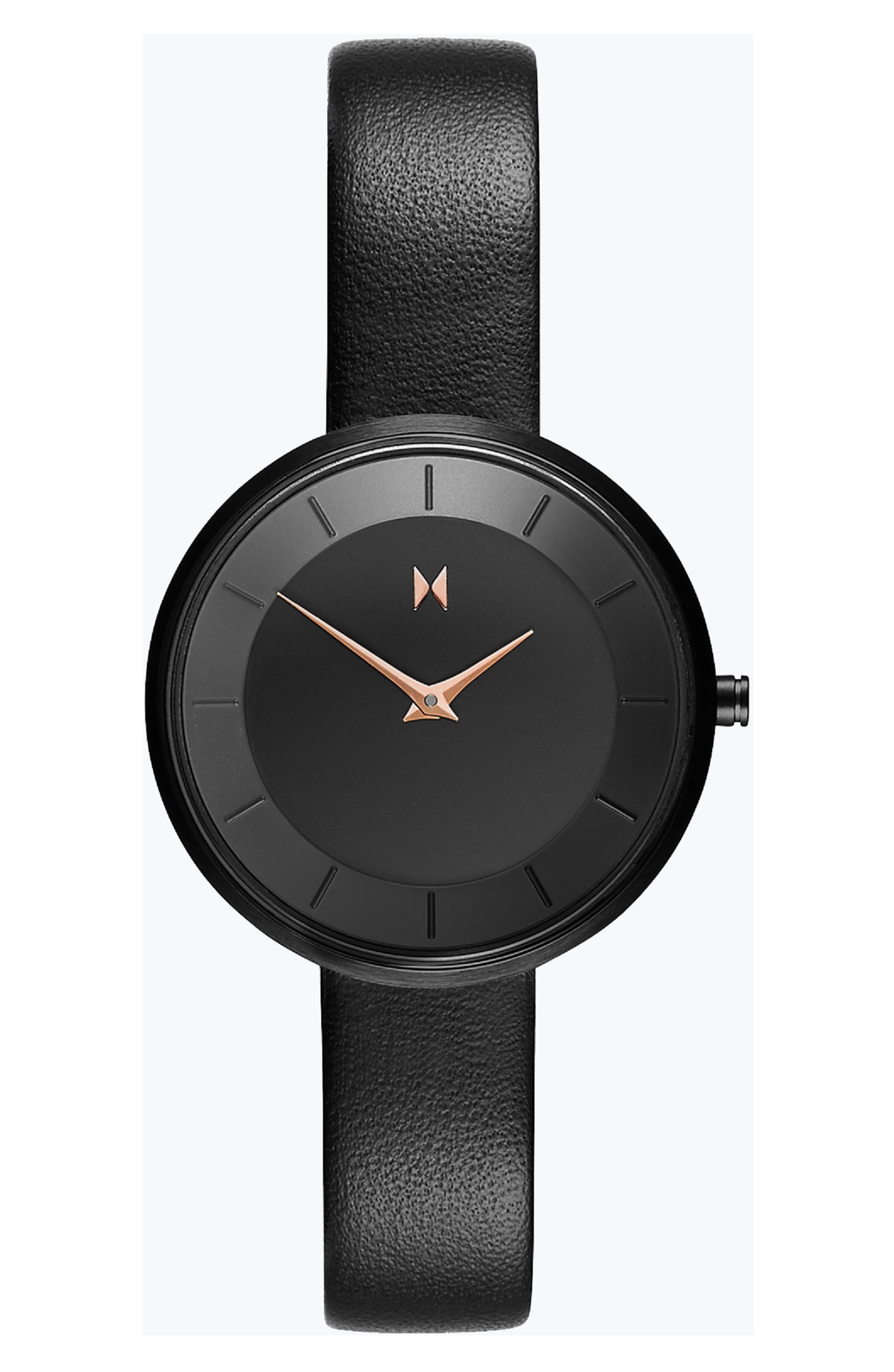 MVMT Mod Leather Strap Watch, 32Mm in Black
