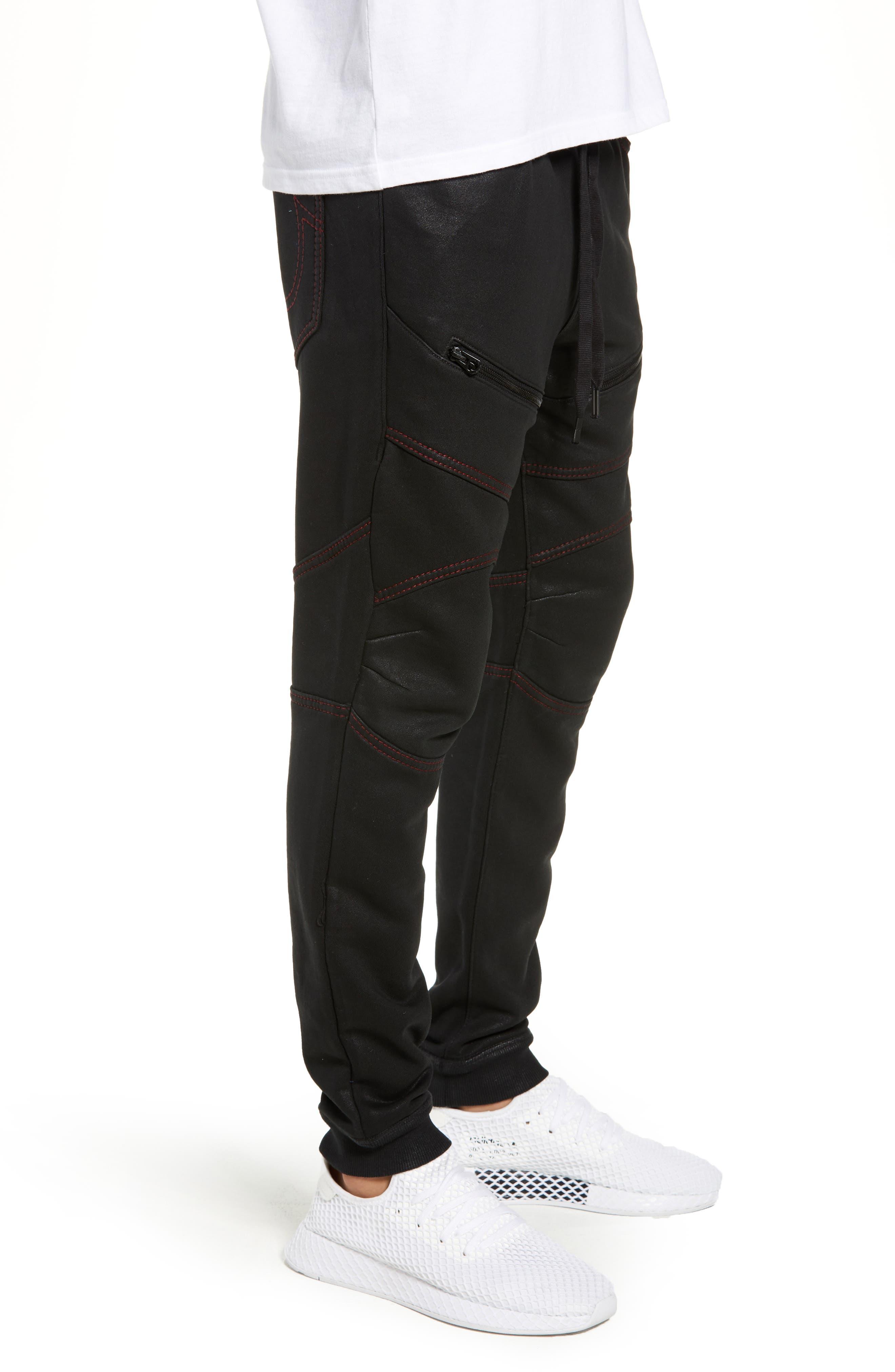 Moto Active Sweatpants,                             Alternate thumbnail 3, color,                             TRUE BLACK
