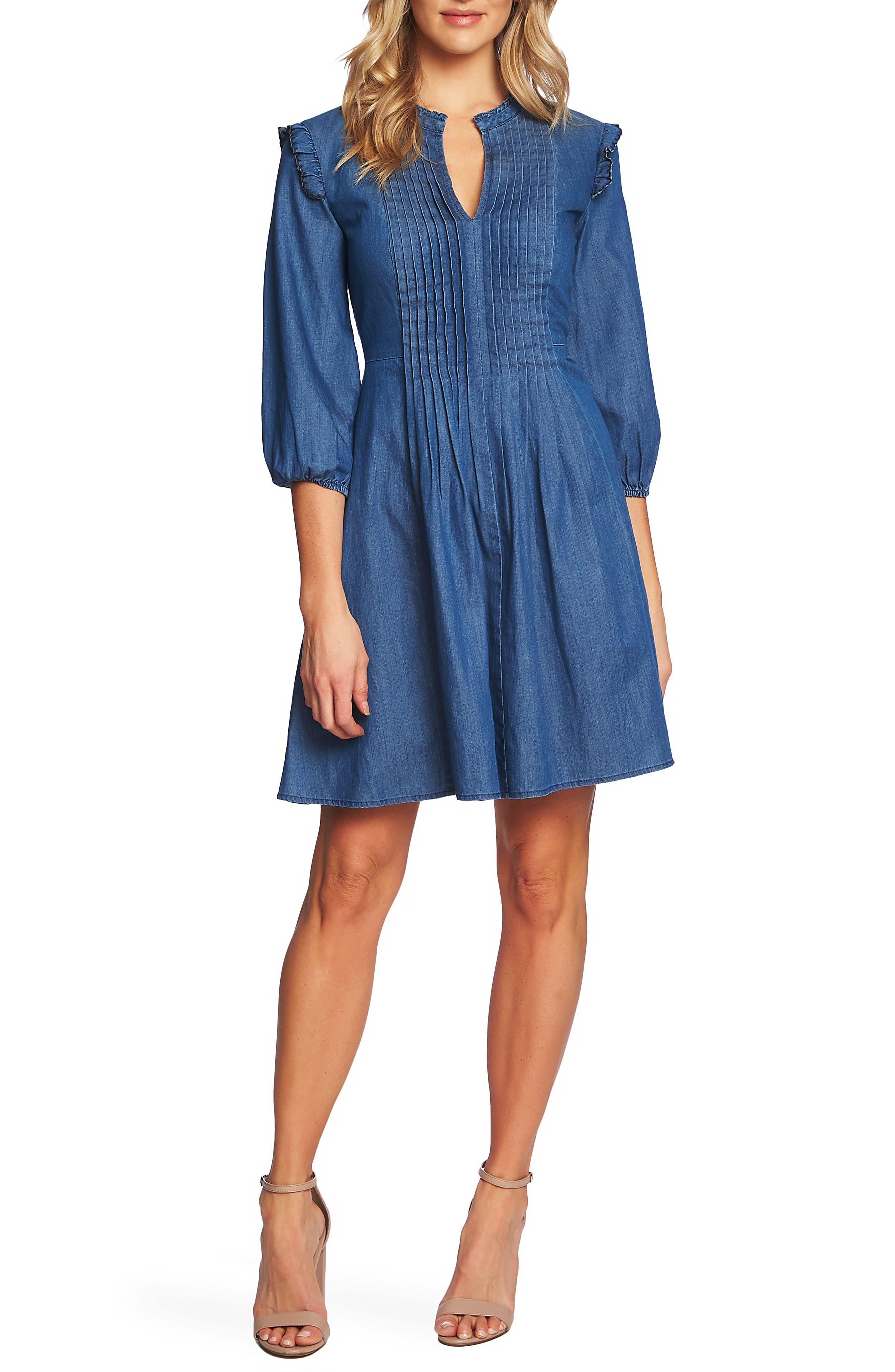 Cece Pintuck Ruffle Denim Dress, Blue