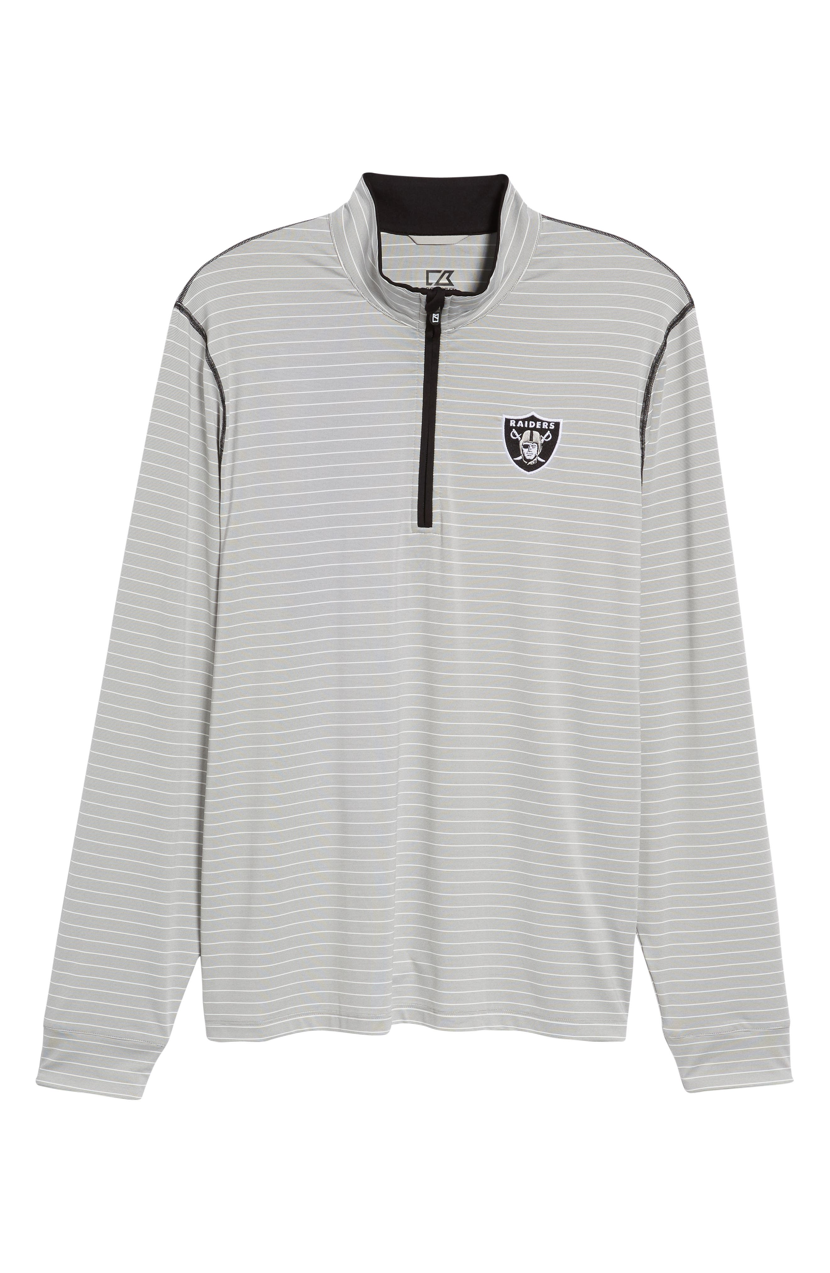 Oakland Raiders - Meridian Half Zip Pullover,                             Alternate thumbnail 6, color,                             BLACK