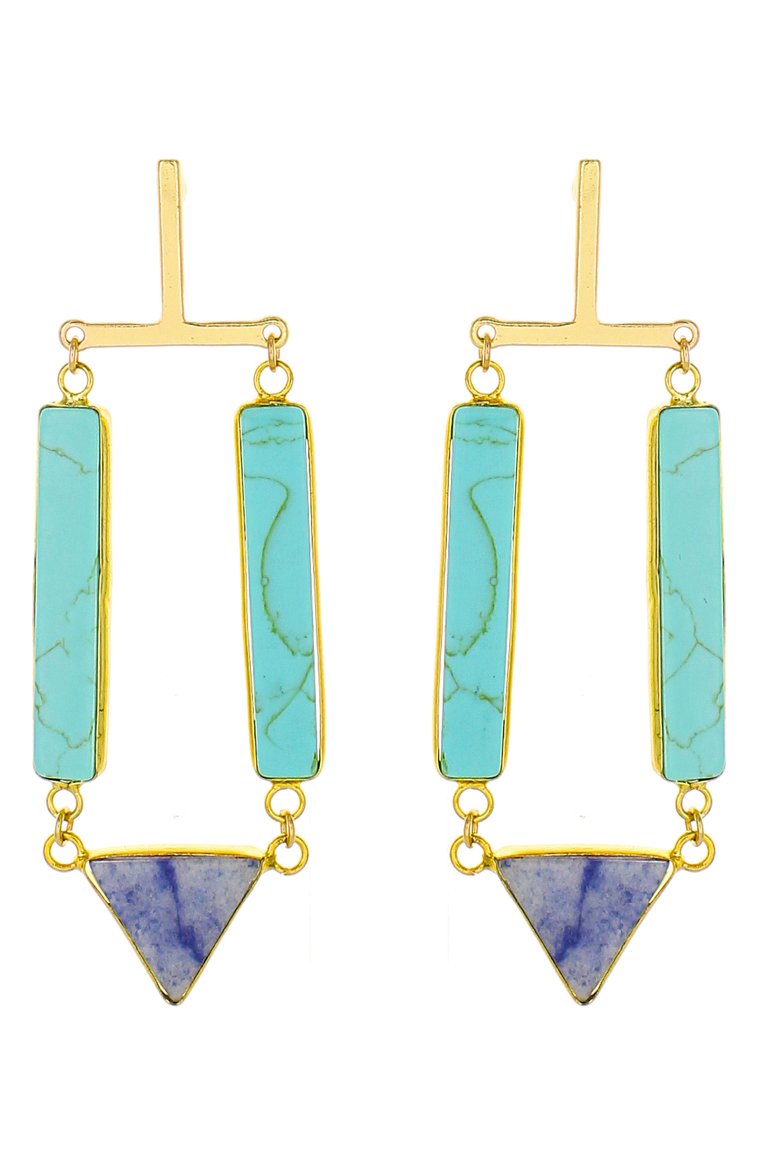 Stone Drop Earrings,                             Main thumbnail 1, color,                             TURQUOISE/ NAVY MULTI