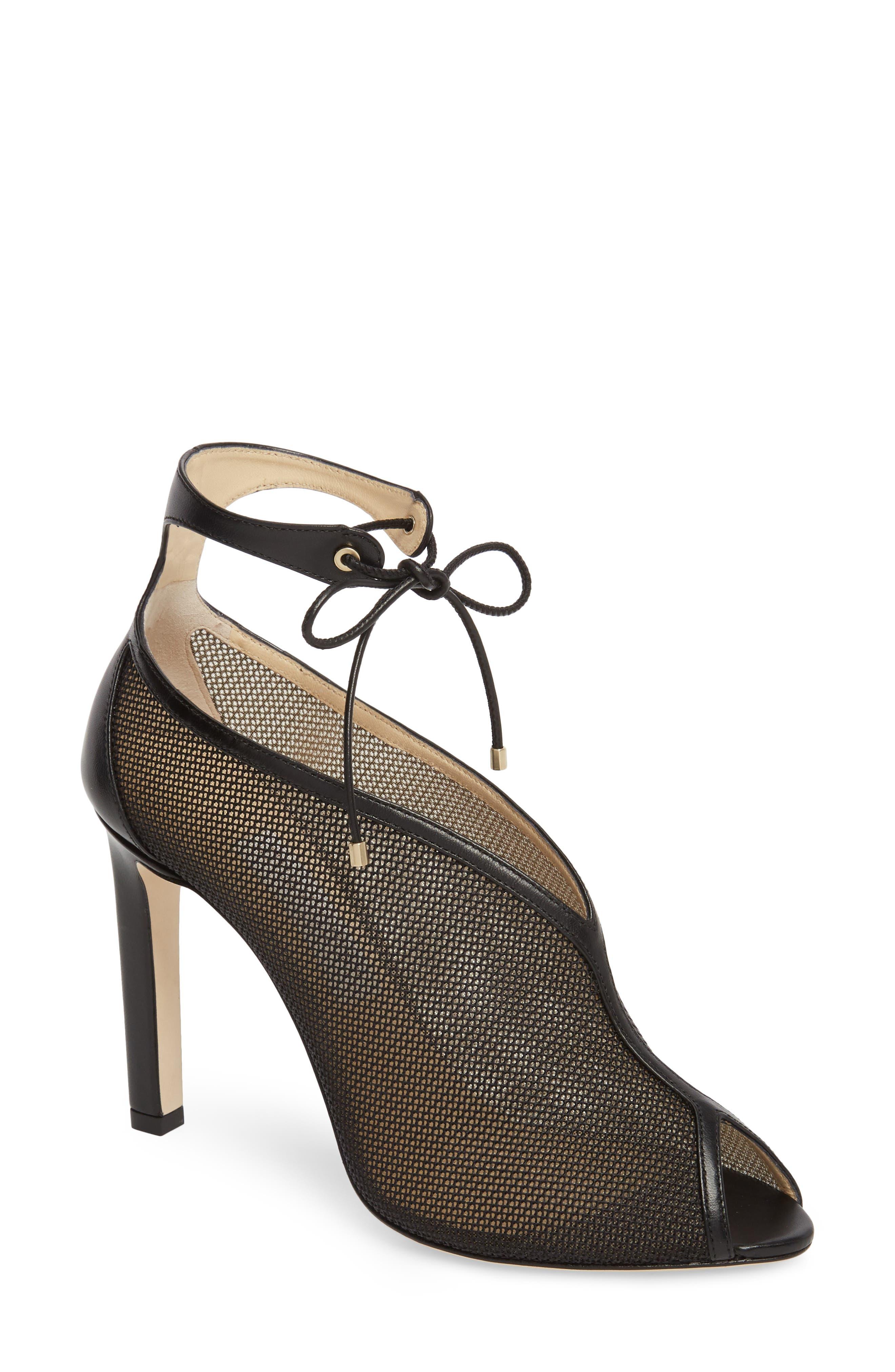 Sayra Ankle Tie Bootie,                         Main,                         color, BLACK