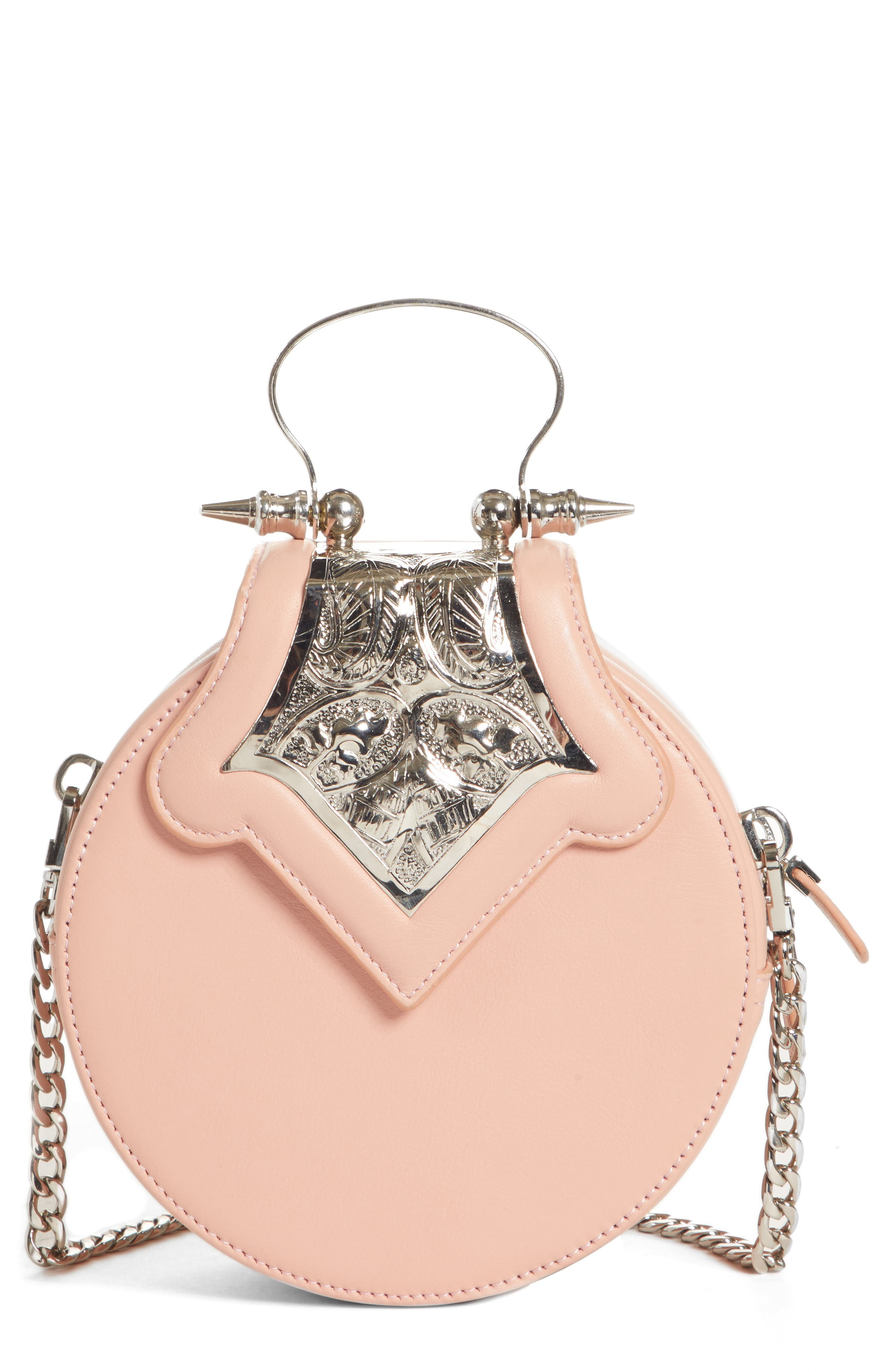 OKHTEIN Mini Dome Crossbody Clutch - Pink in Nude X Silver