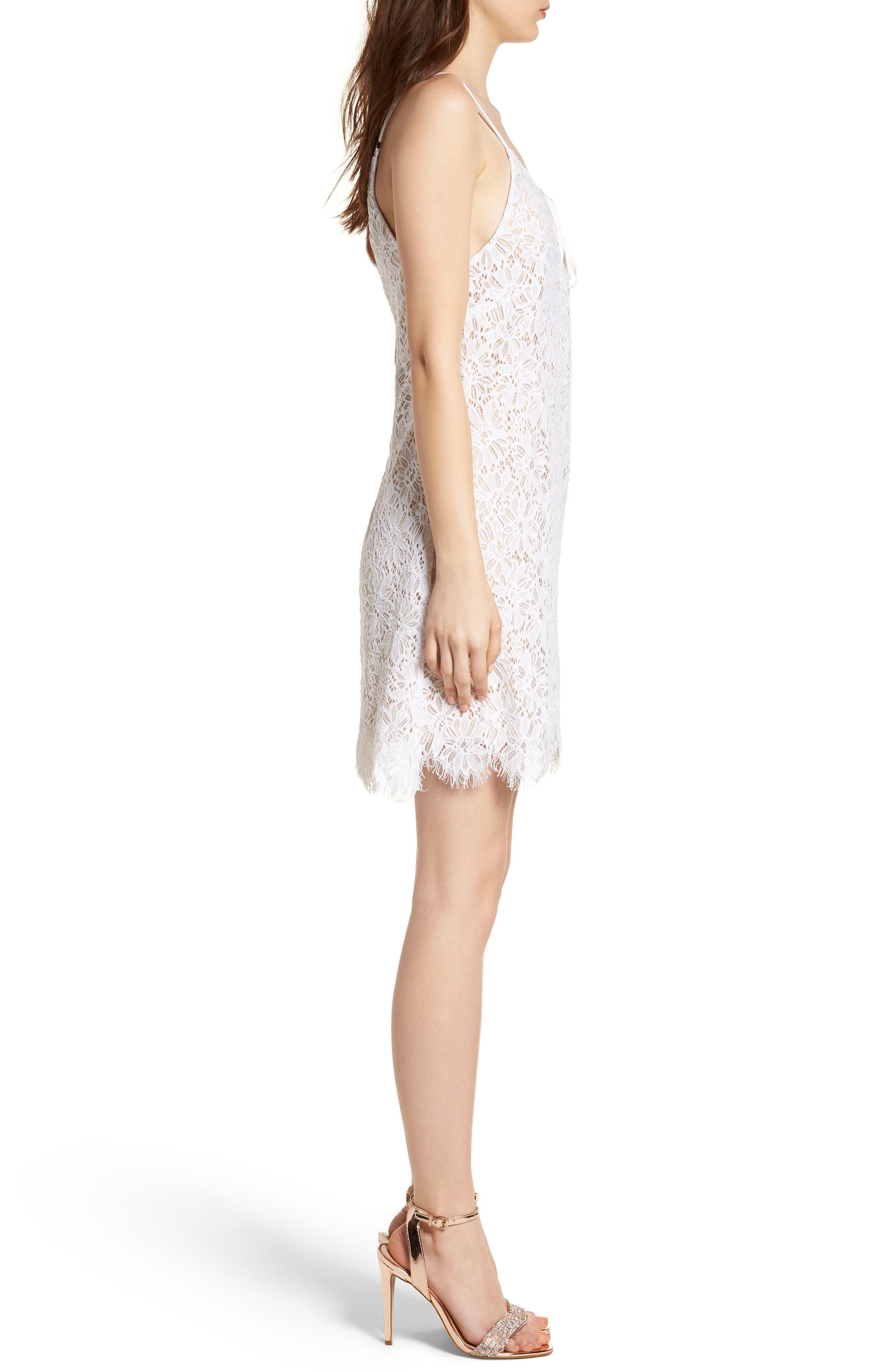 Lace-Up Lace Minidress,                             Alternate thumbnail 3, color,                             900