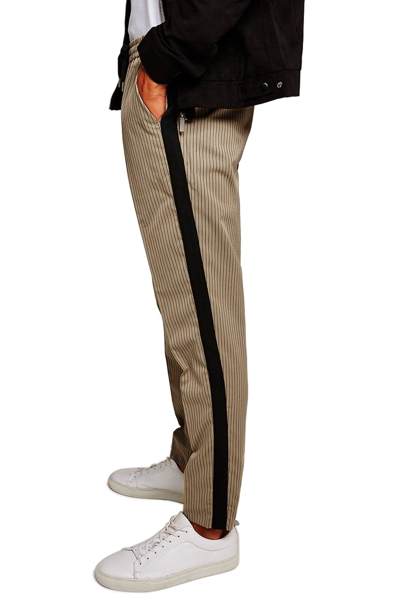 Slim Fit Pinstripe Jogger Pants,                             Alternate thumbnail 2, color,                             LIGHT BROWN