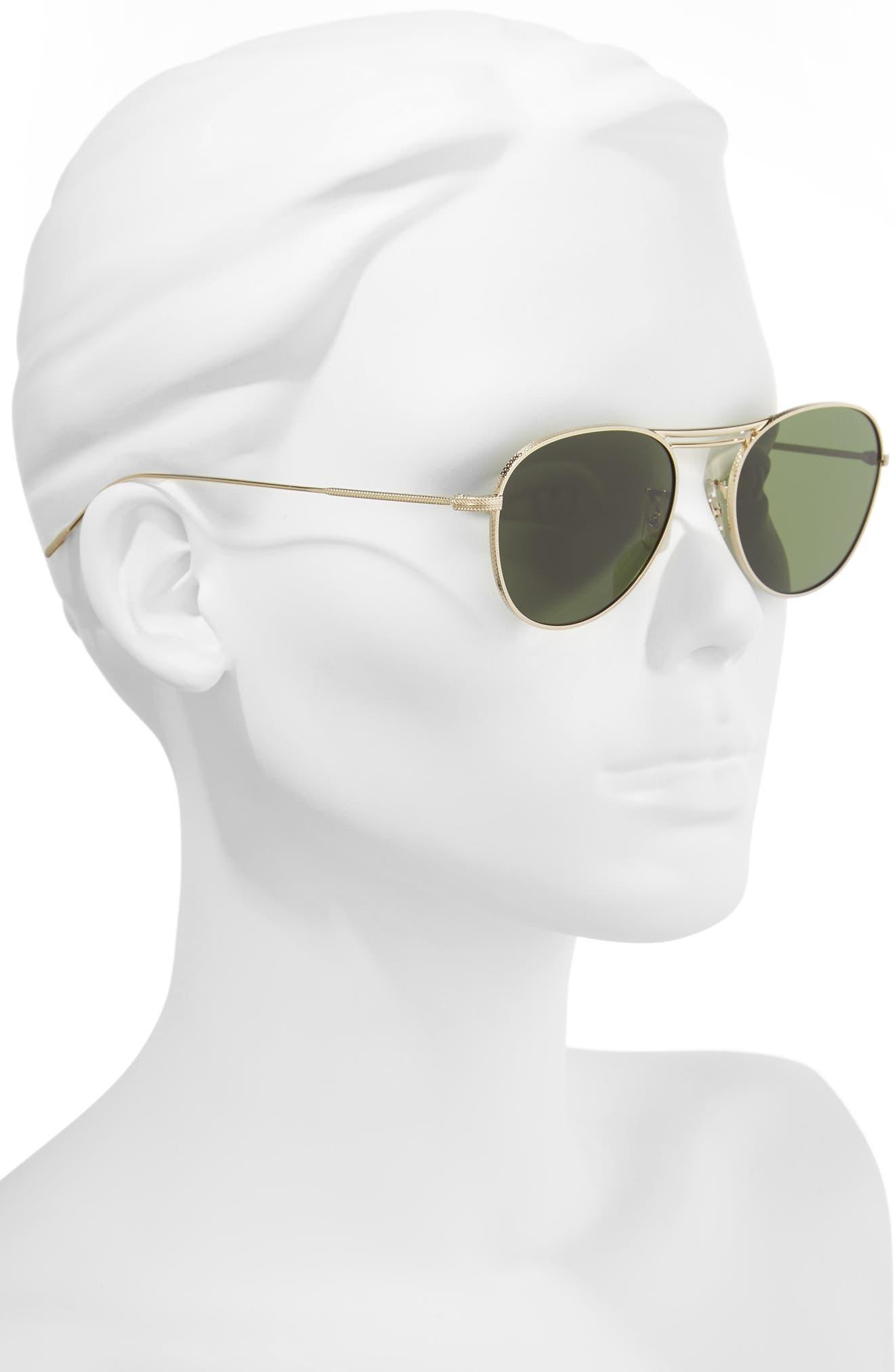 Cade 52mm Mirror Lens Aviator Sunglasses,                             Alternate thumbnail 2, color,                             GOLD/ GREEN