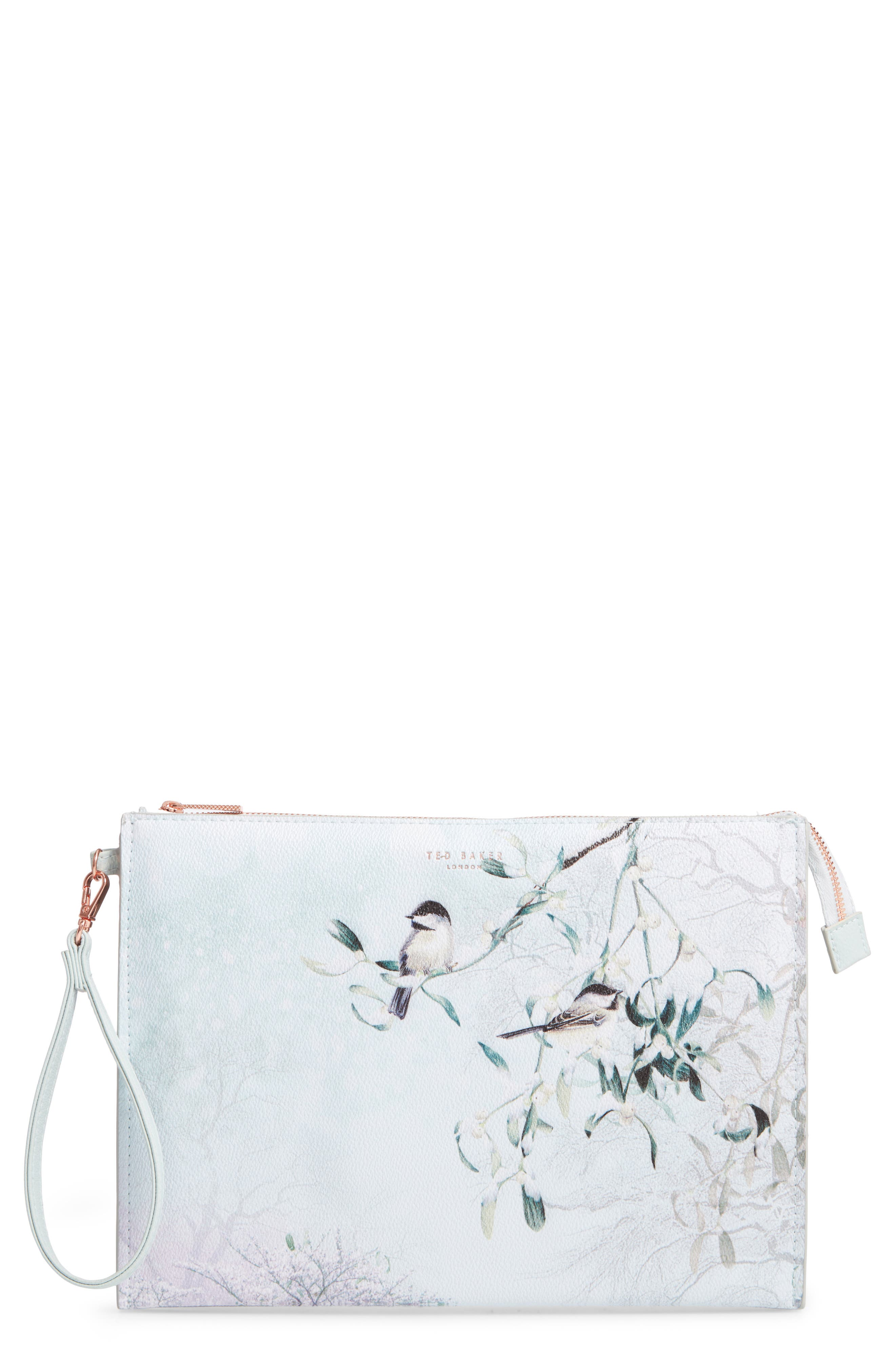 Ted Baker London Karlie Faux Leather Wristlet Pouch - Green