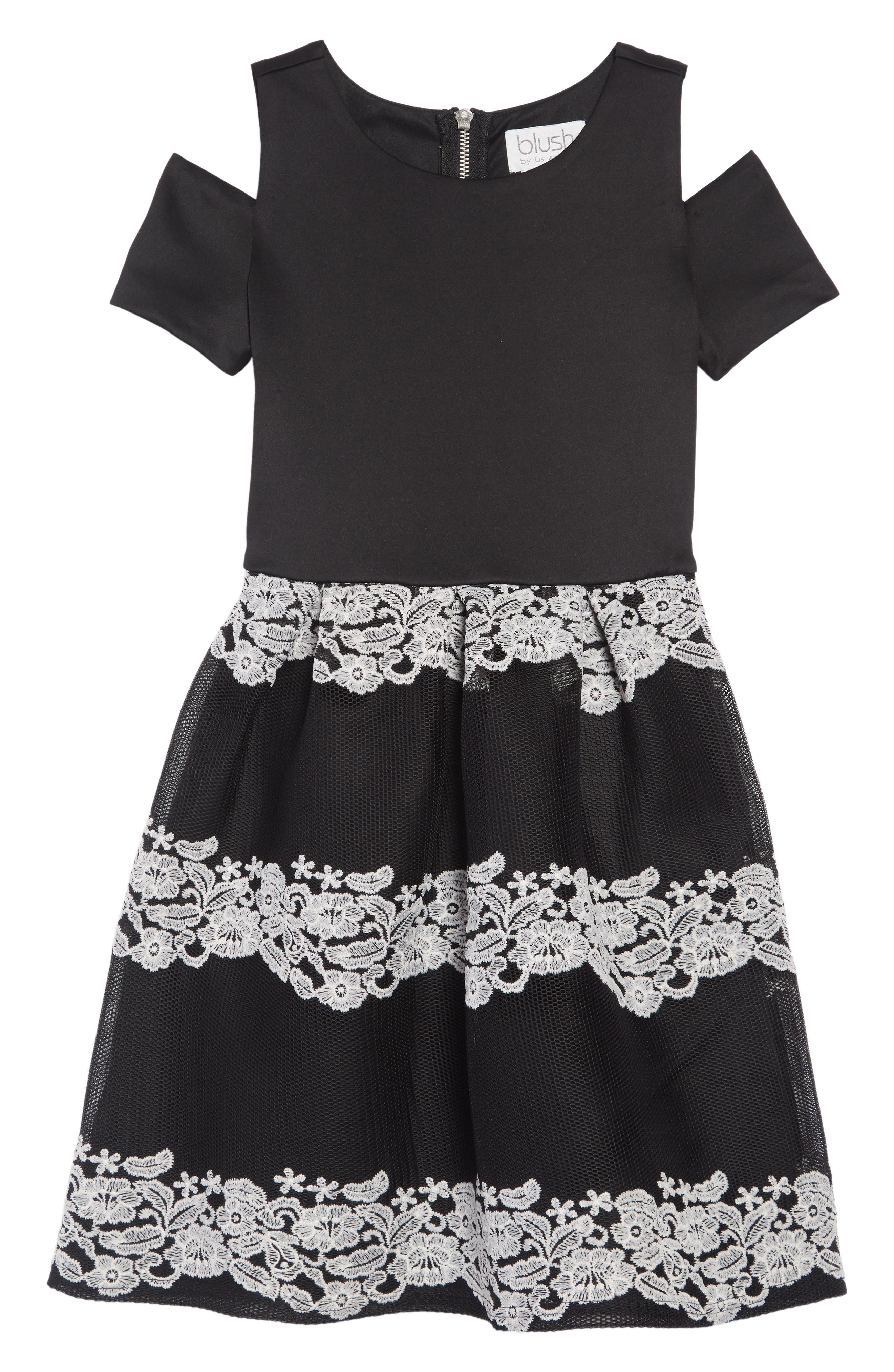 Cold Shoulder Scuba & Mesh Dress,                         Main,                         color, 001