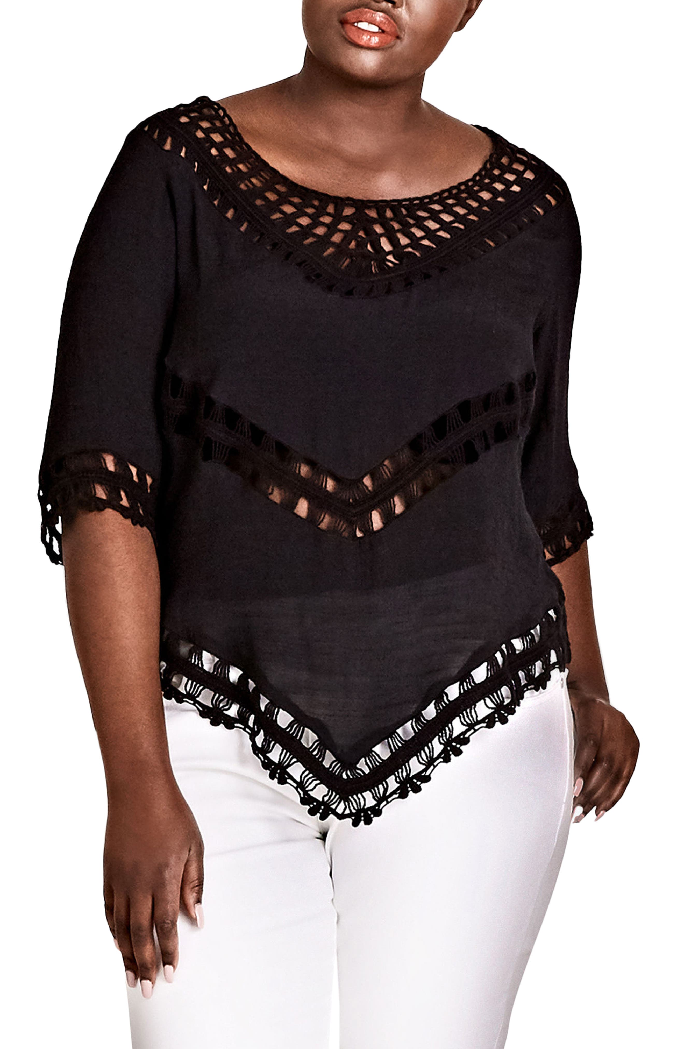 Sweet Vibe Crochet Top,                         Main,                         color, BLACK