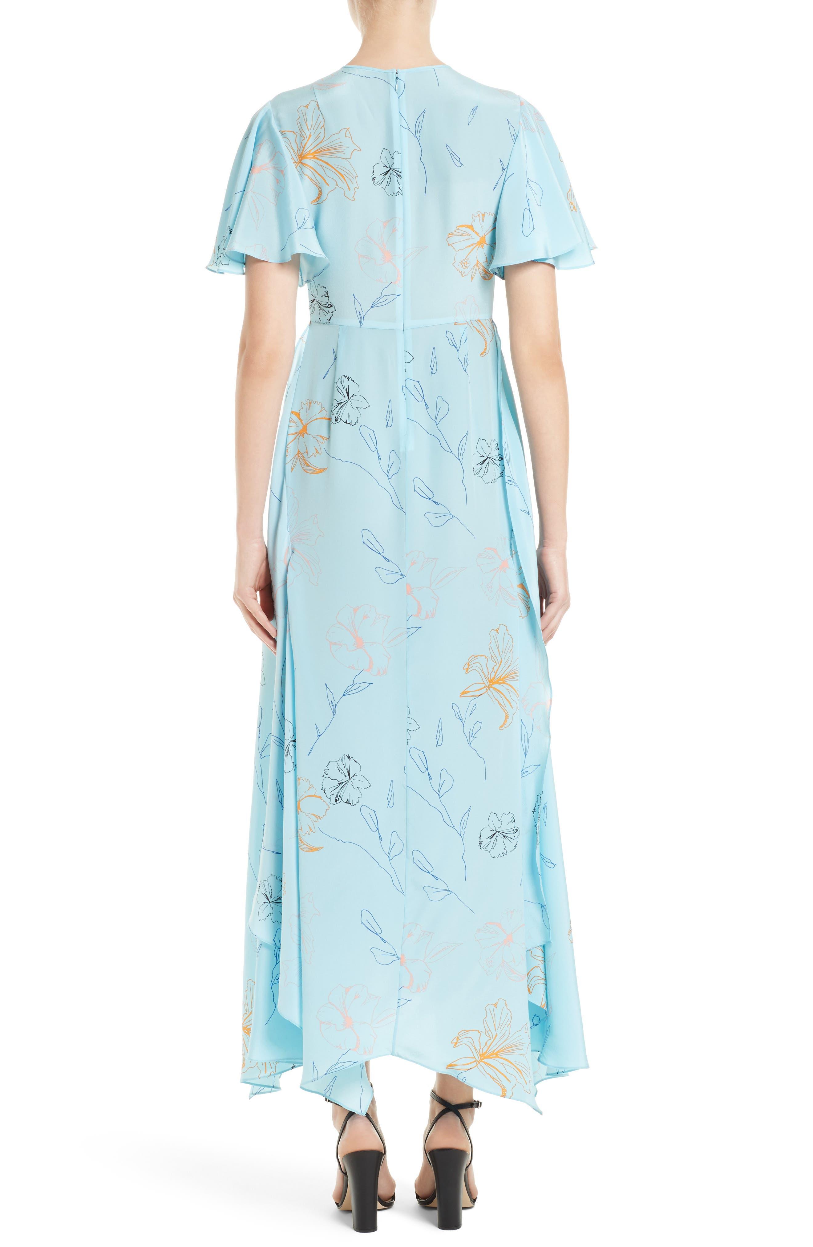 Flutter Sleeve Print Silk Maxi Dress,                             Alternate thumbnail 2, color,                             454
