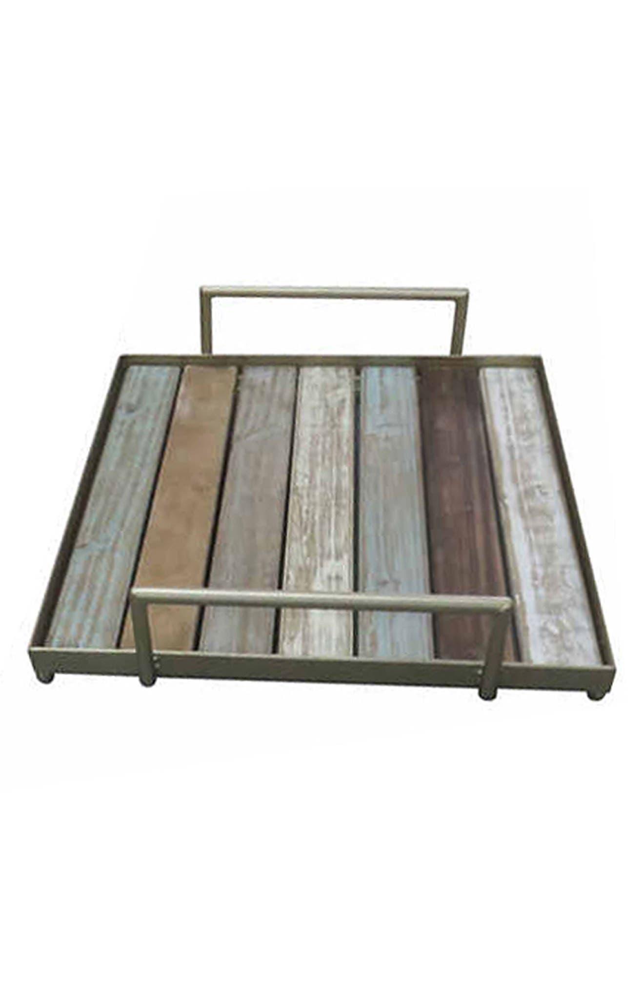Wood & Metal Tray,                             Main thumbnail 1, color,                             200