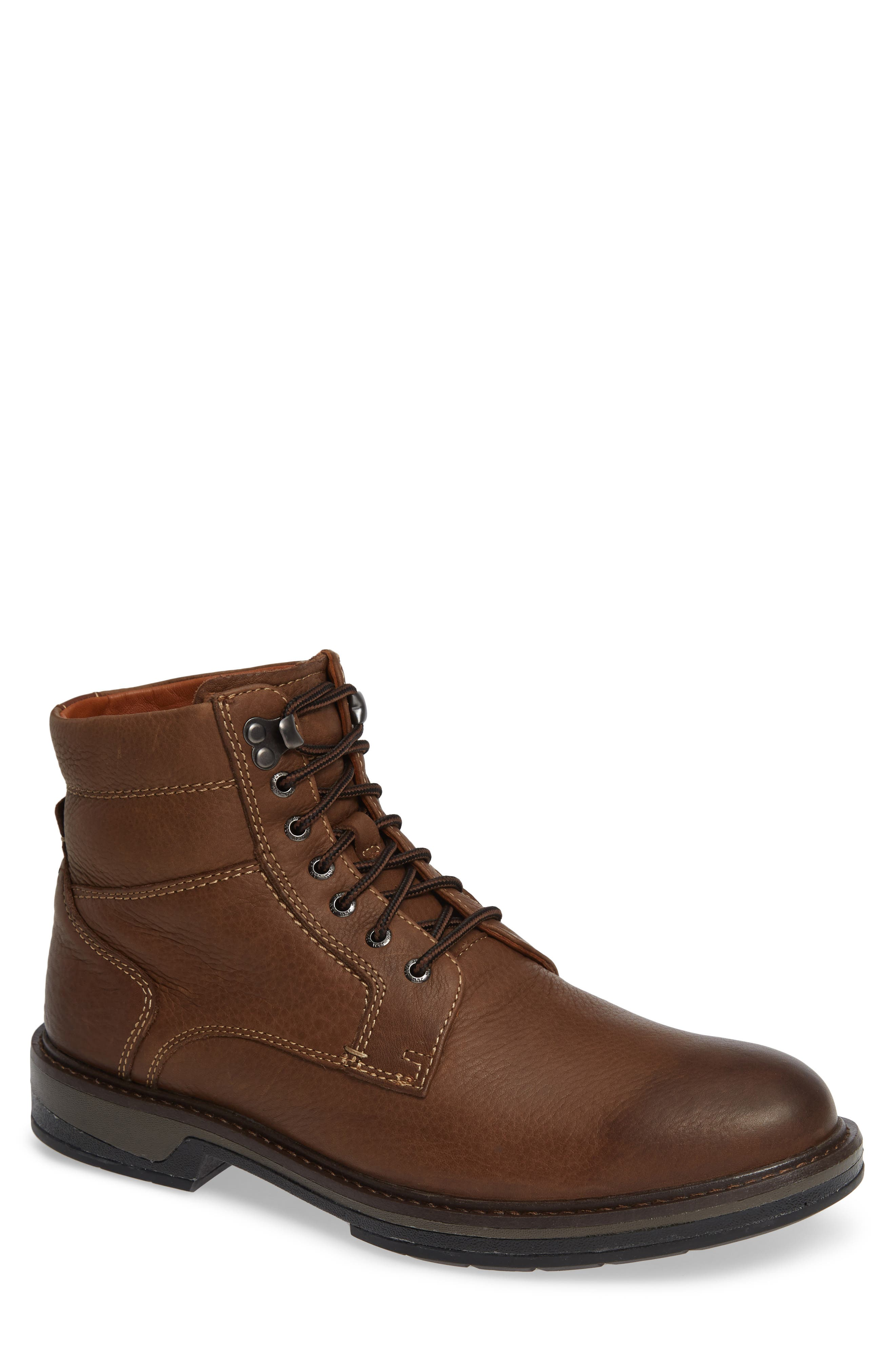 Rutledge Genuine Shearling Lined Waterproof Boot,                             Main thumbnail 1, color,                             BROWN OILED LEATHER