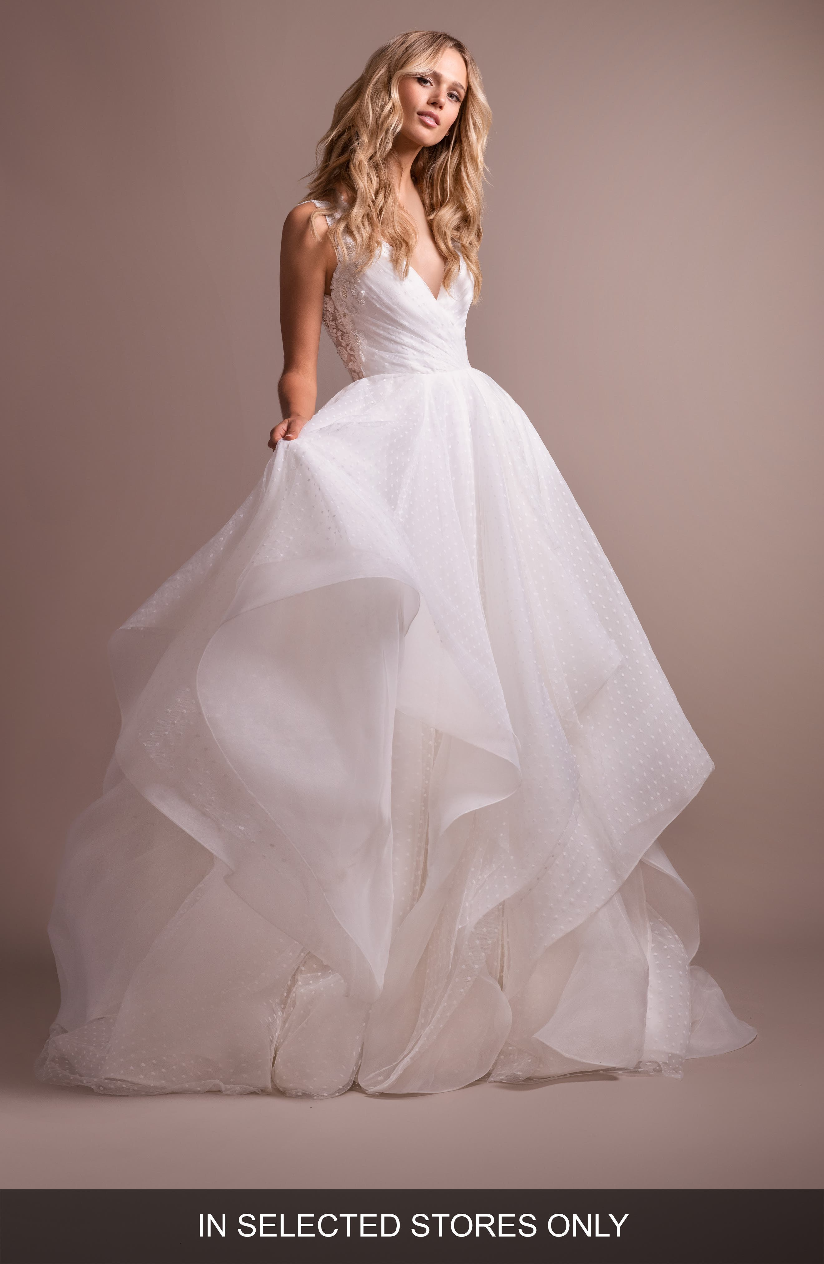 Hayley Paige Dylan V-Neck Low Back Wedding Dress, Size IN STORE ONLY - Ivory