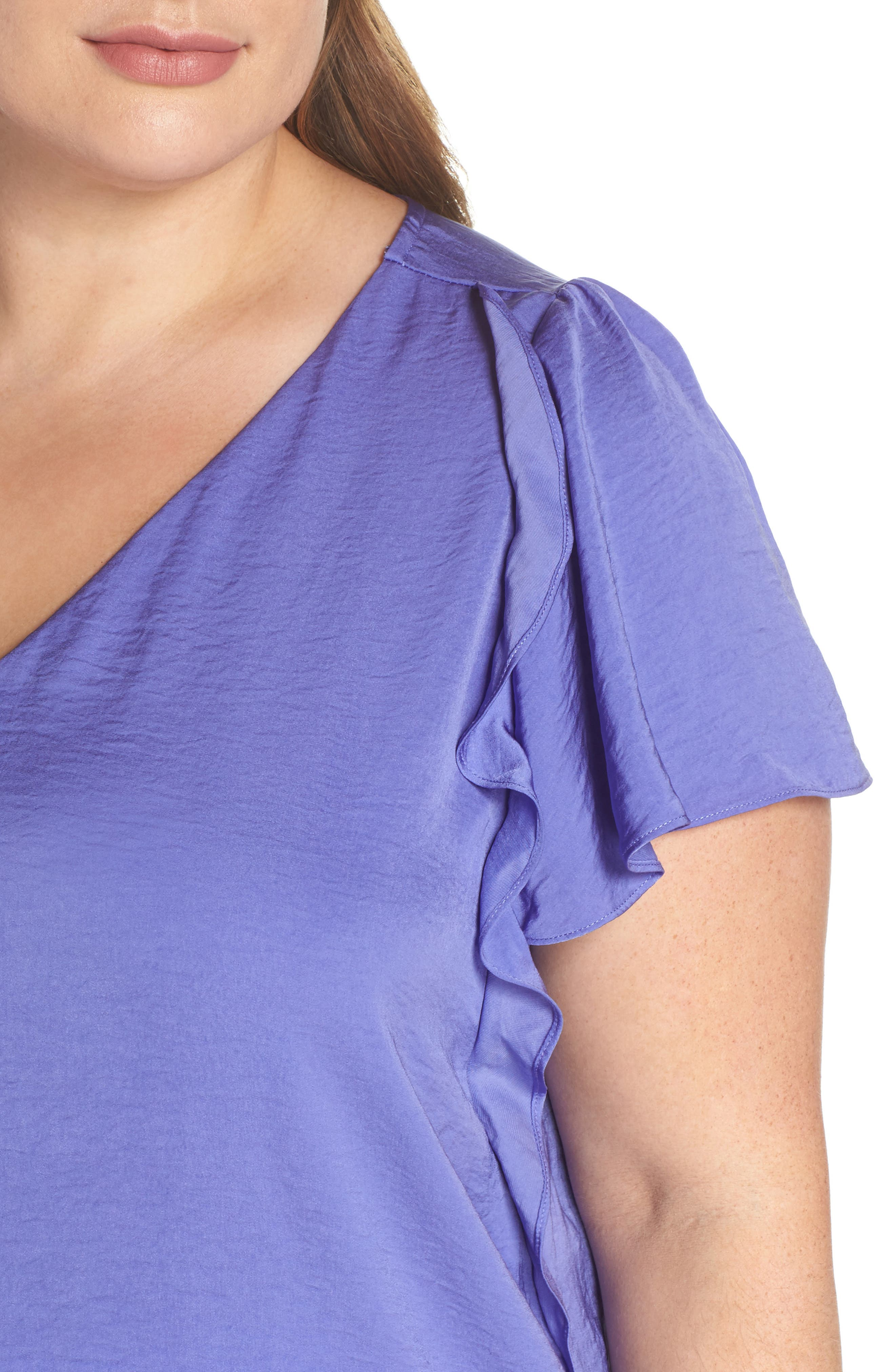 Double Ruffle Hammered Satin Top,                             Alternate thumbnail 4, color,
