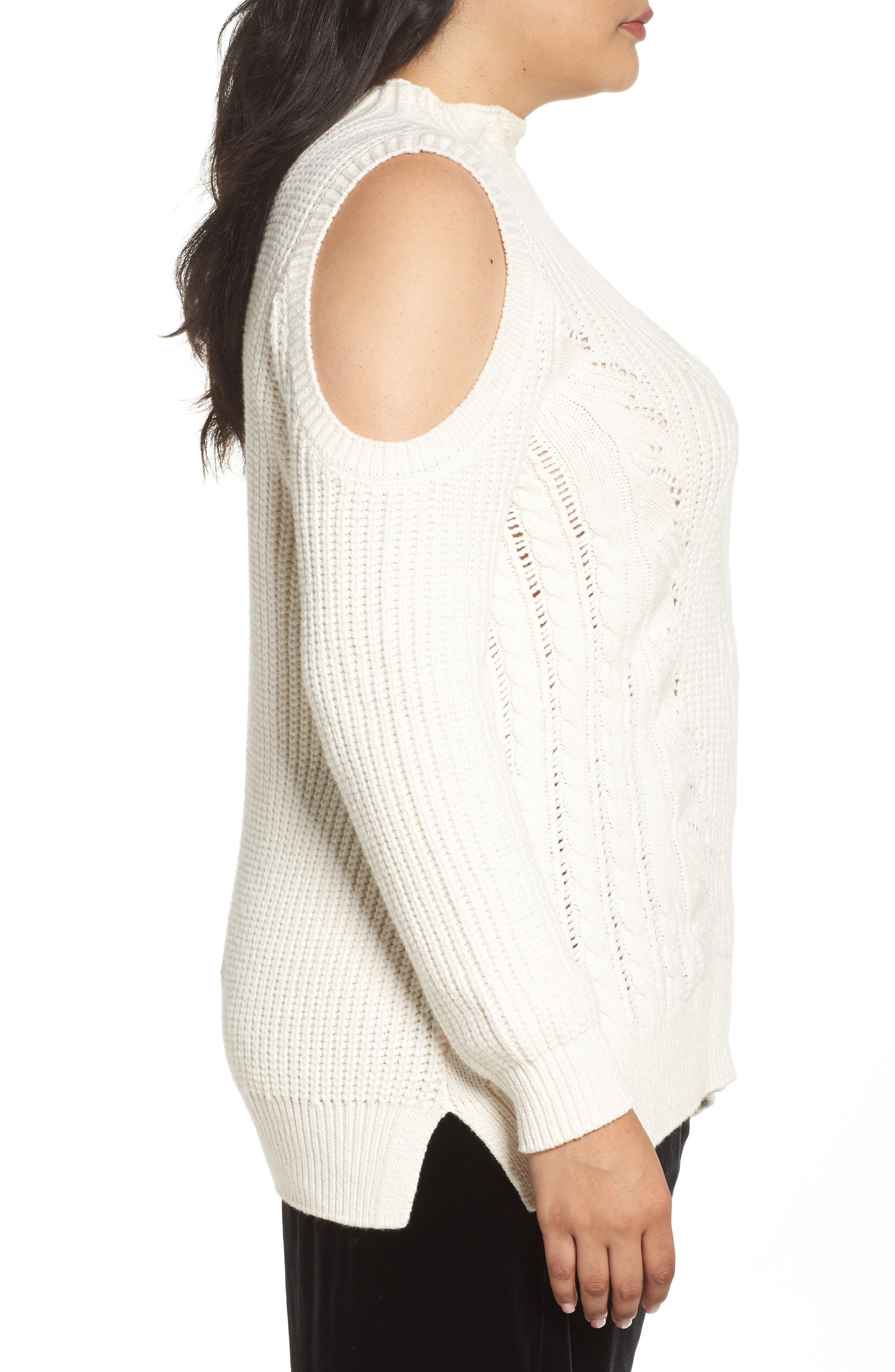 Cold Shoulder Cable Sweater,                             Alternate thumbnail 9, color,