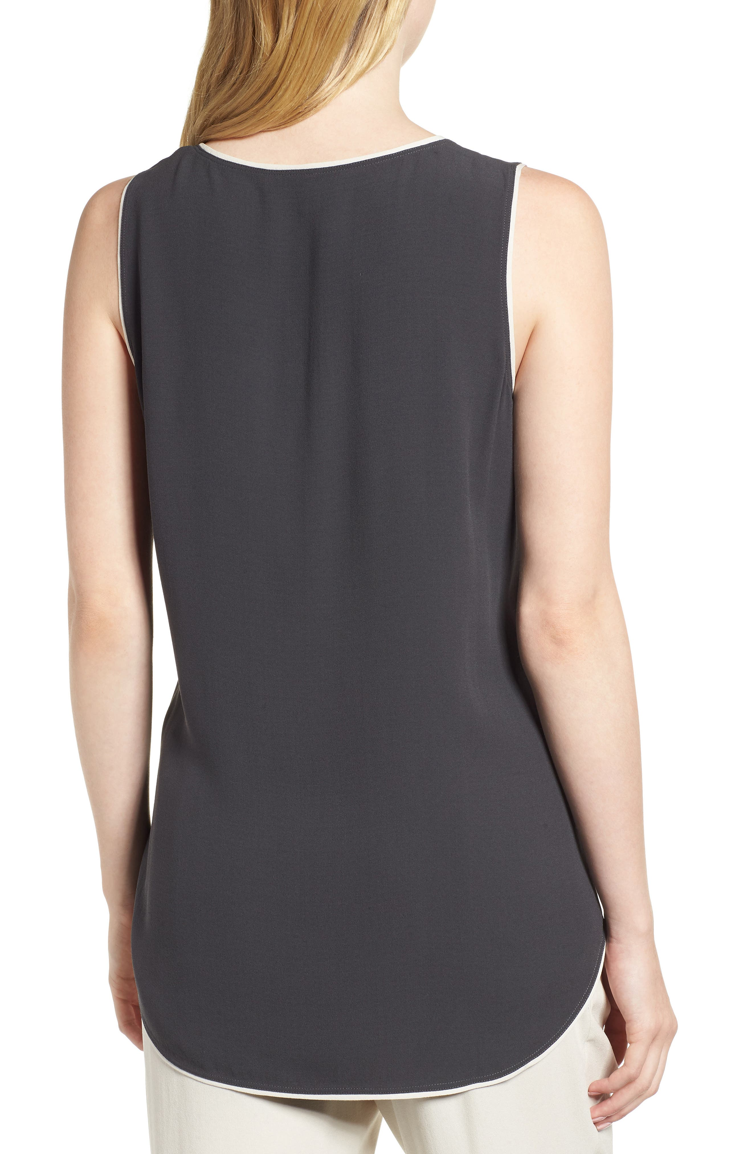 EILEEN FISHER,                             Piped Silk Tank,                             Alternate thumbnail 2, color,                             025