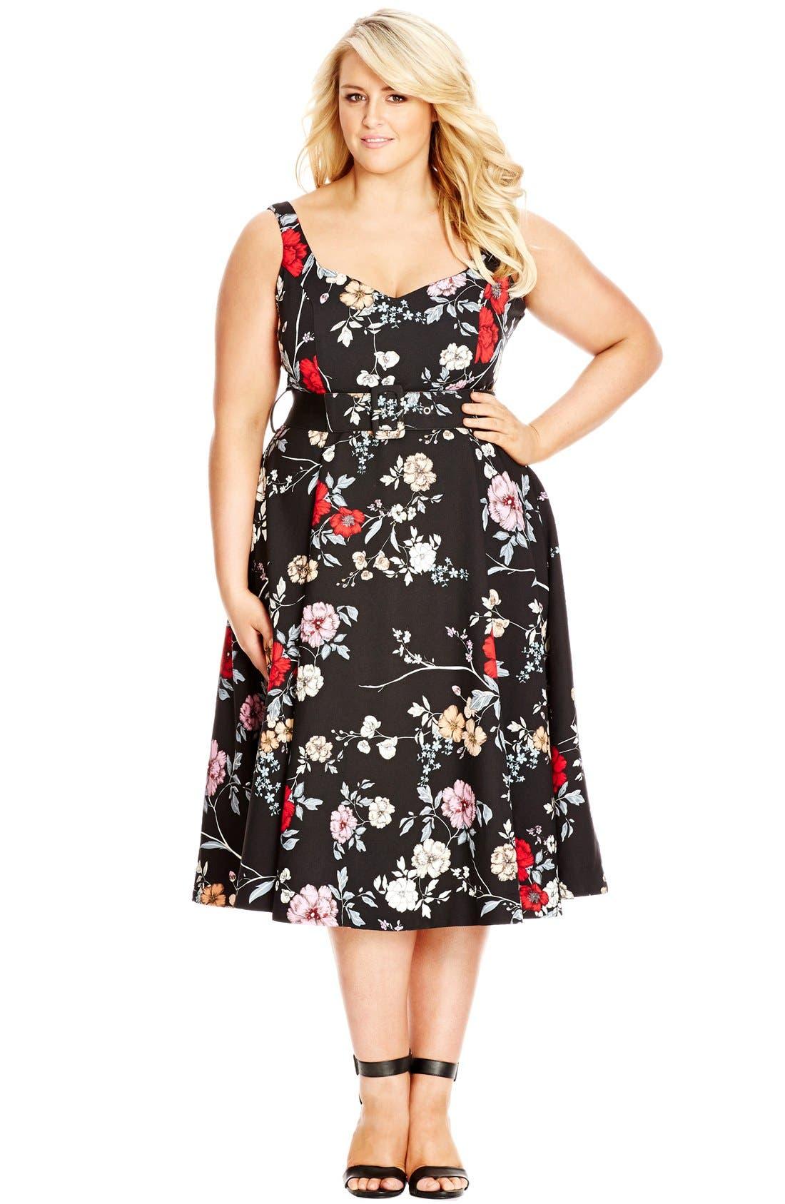 Belted Floral Fit & Flare Dress,                             Alternate thumbnail 3, color,