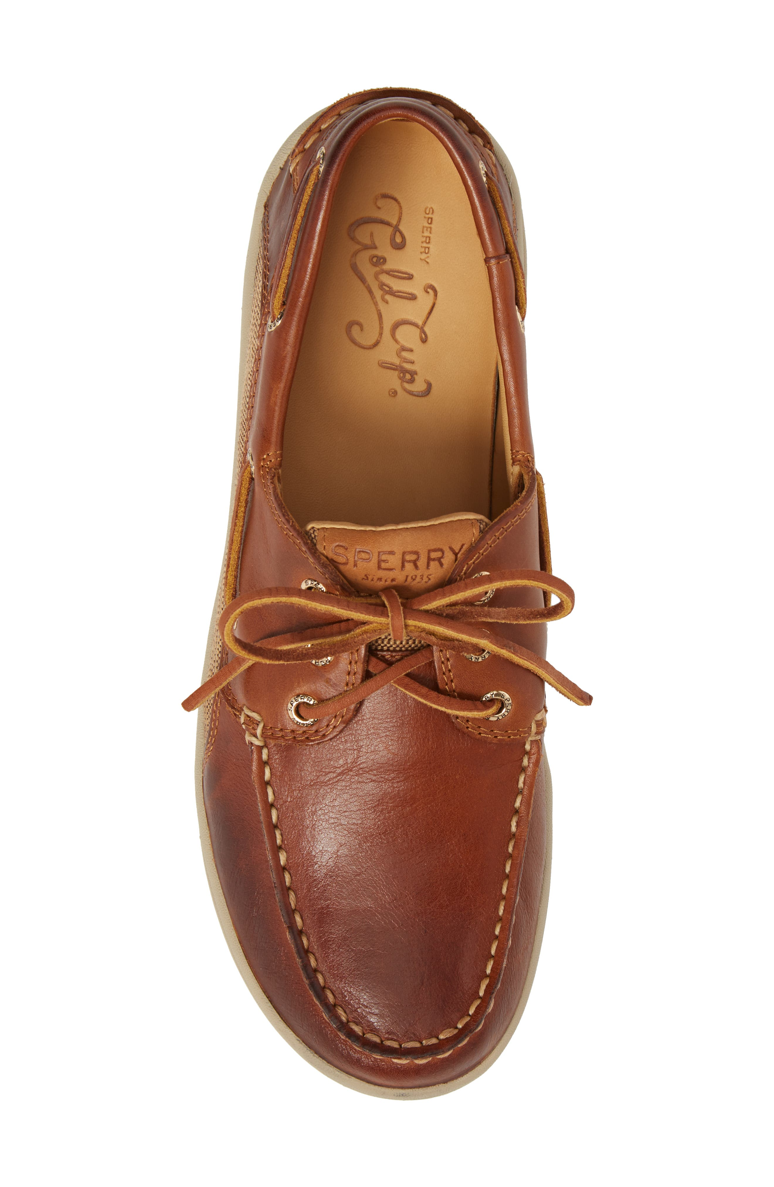 Gold Cup Gamefish Boat Shoe,                             Alternate thumbnail 5, color,                             BROWN LEATHER